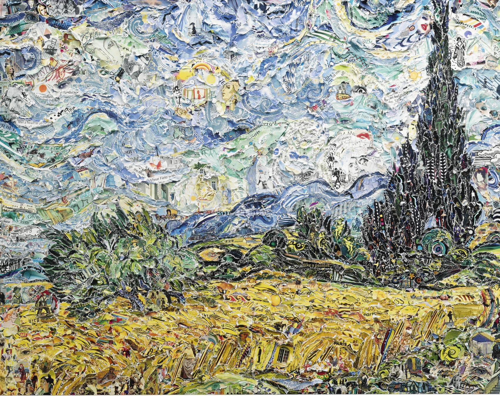 Vik Muniz-Wheat Field With Cypresses, After Van Gogh (Pictures Of Magazines 2)-2011