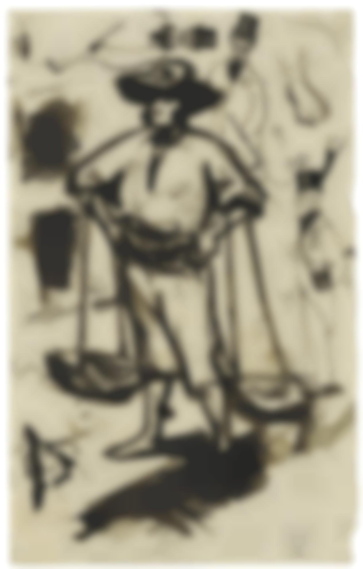 Pablo Picasso-Vendeur De Poisson A Malaga (Recto) & Etudes (Verso): A Double-Sided Work-1899