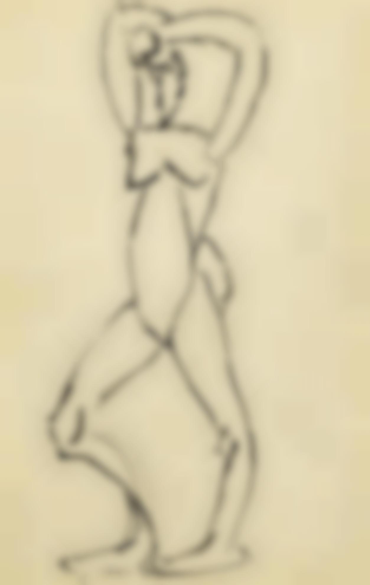 Pablo Picasso-Nu Debout, Les Bras Leves-1907