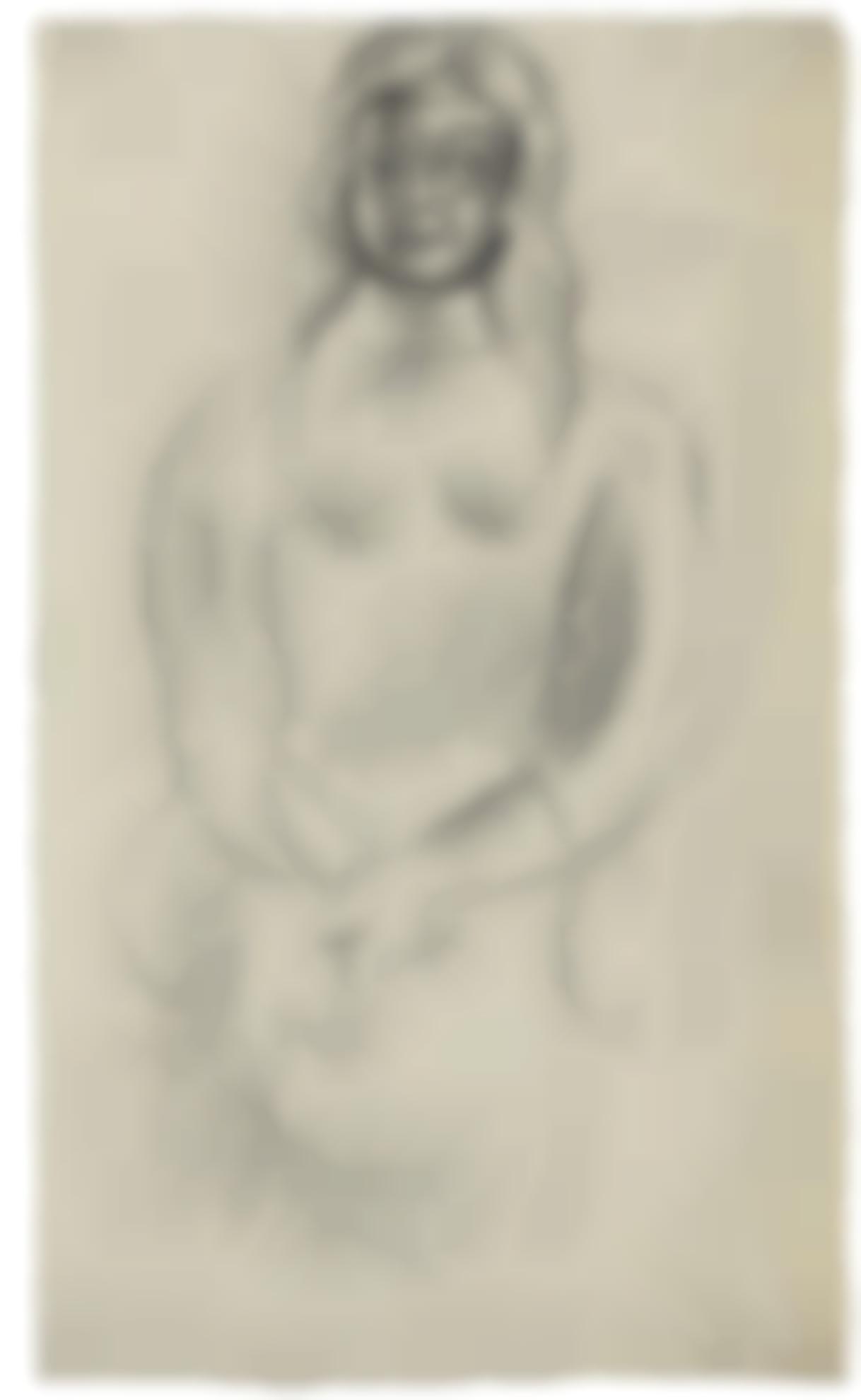 Pablo Picasso-Jeune Fille Assise Avec Un Livre (Recto) & Etude Dun Nu Debout (Verso): A Double-Sided Work-1916