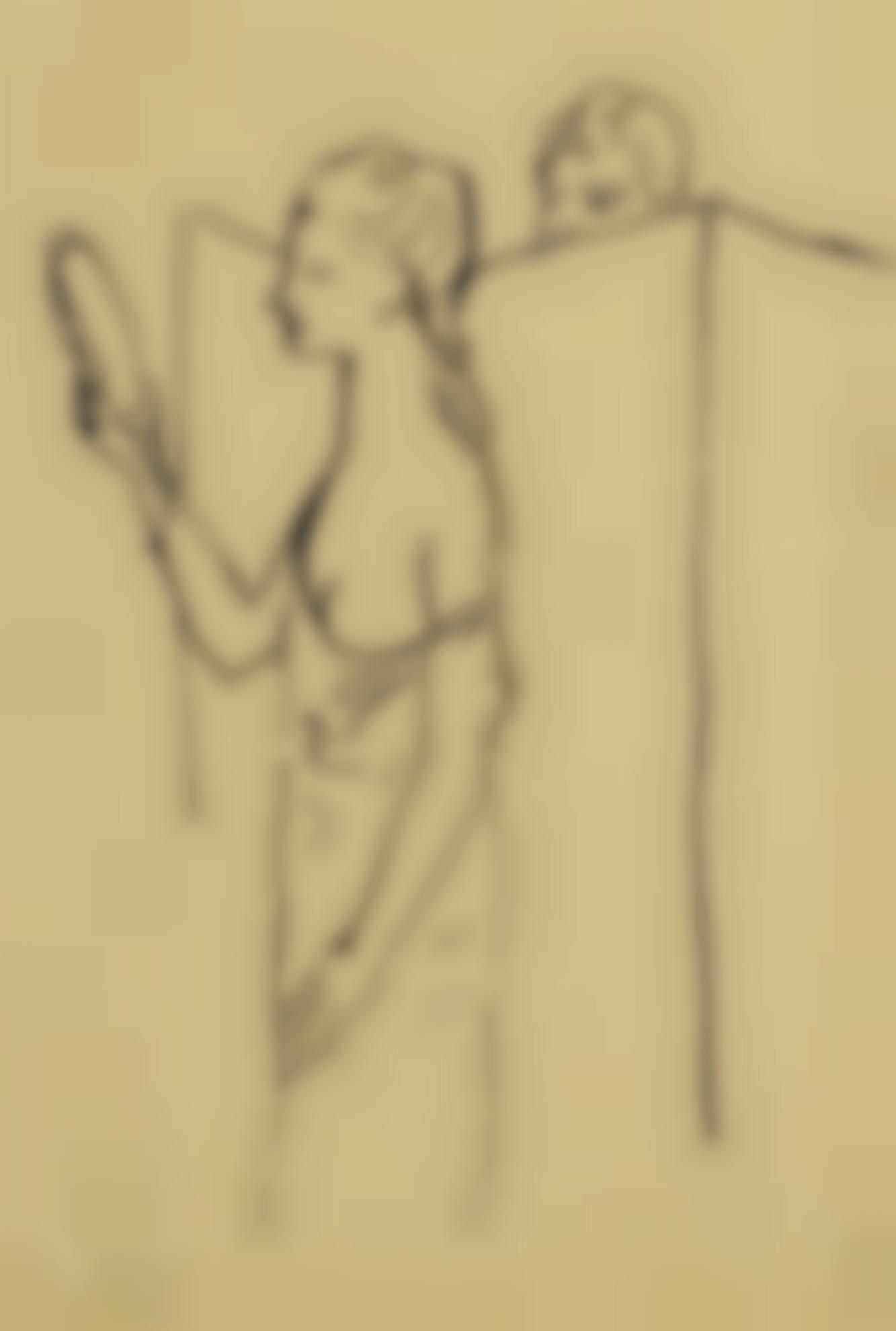 Pablo Picasso-Femme Au Miroir (Etude)-1906