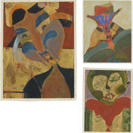 Francisco Toledo-Three Works: (i) Mujer Con Trenzas; (ii) Hombre Arlequin; (iii) Tamin Ojos Estrellas-1965