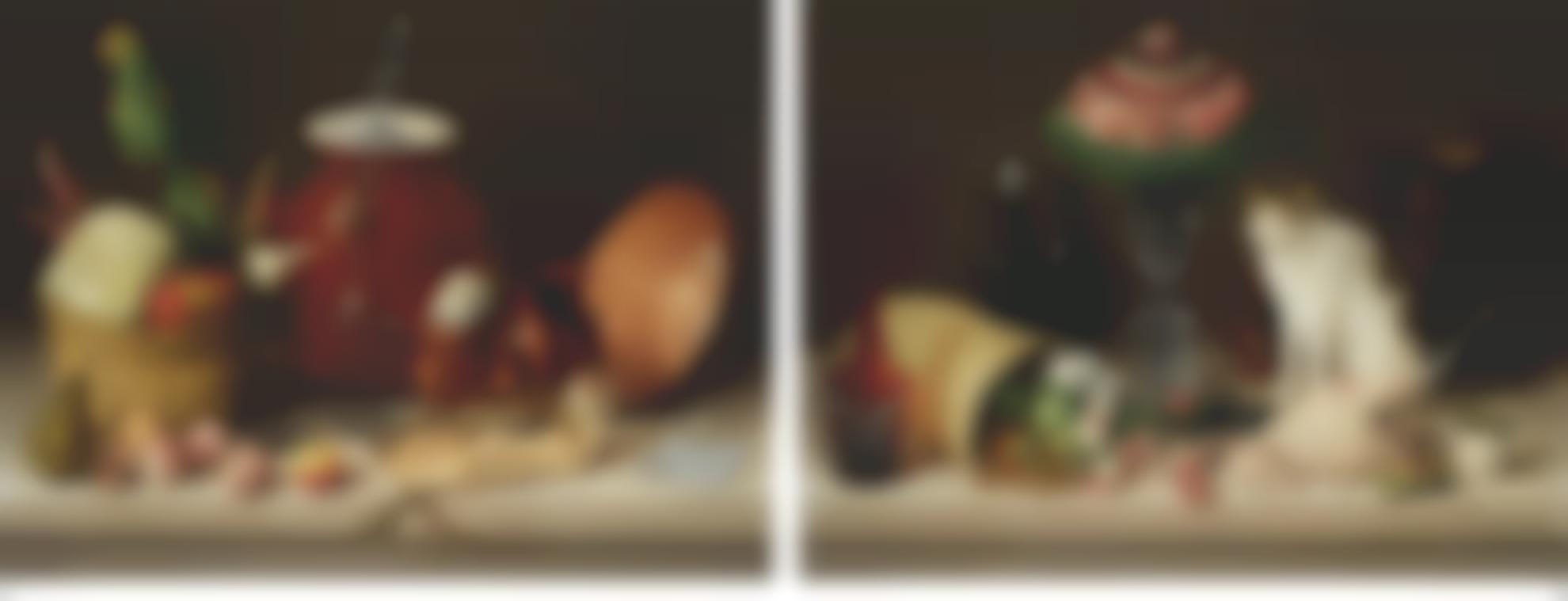 Jose Agustin Arrieta-Two Still Lifes: (I) Bodegon (Canasta, Perico, Cazo Y Gallina Acostada) and (II) Bodegon (Gato, Florero, Licorera, Pollo Muerto Y Taza De Aceitunas)-