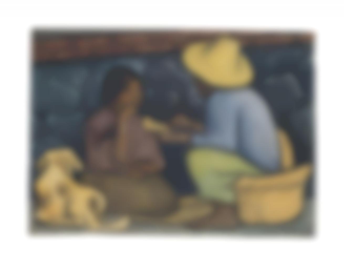 Diego Rivera-La Merienda (Also Known As Grupo Comiendo Con Canasta Y Perro)-1936