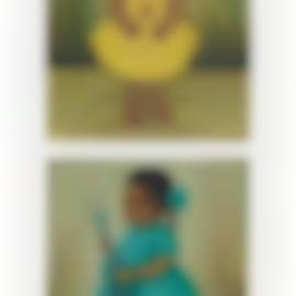 Gustavo Montoya-Nina en amarillo; Nina en verde con guitarra-1963