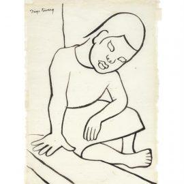 Diego Rivera-Nina Sentada En Banqueta-1952
