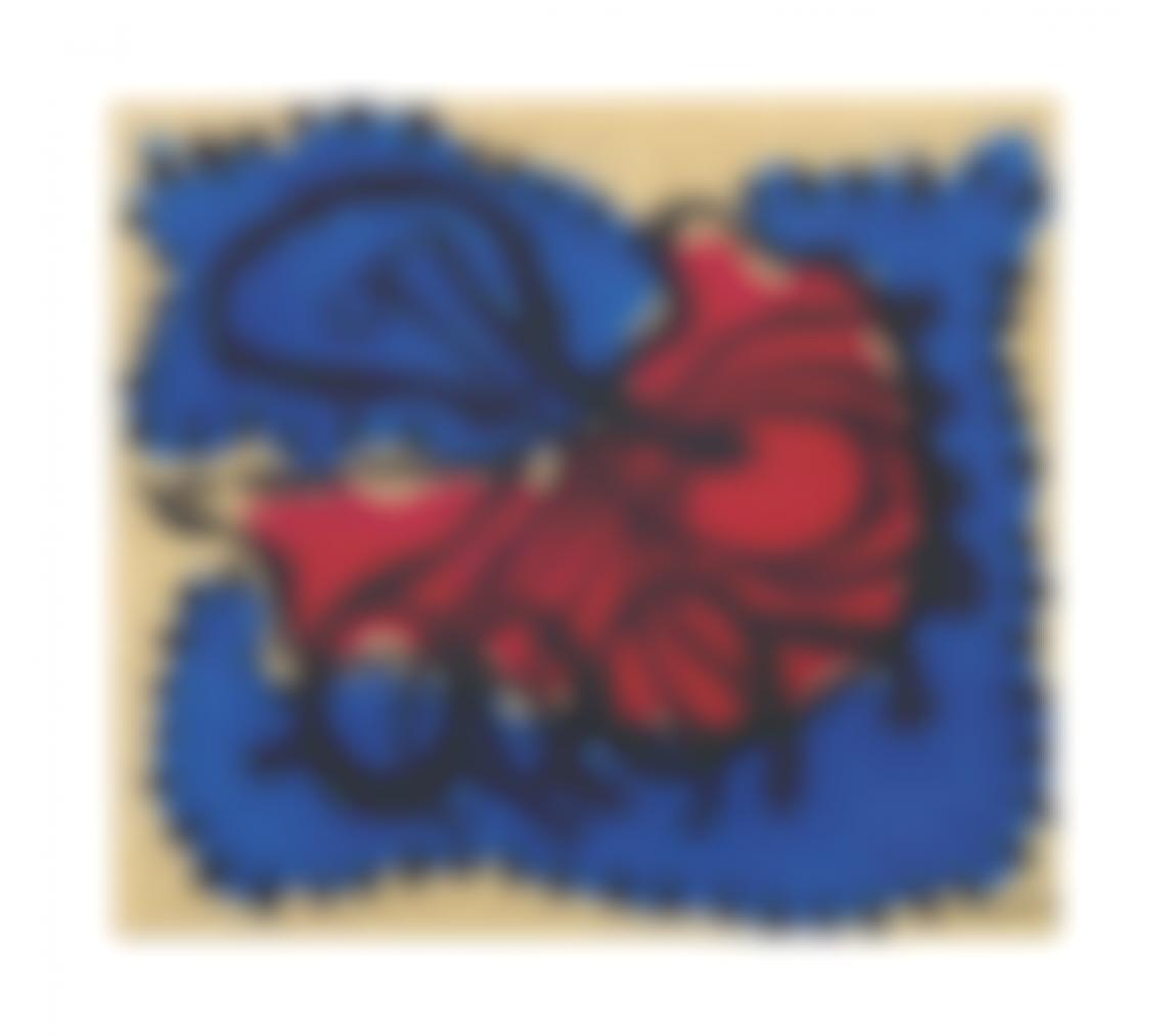 Amelia Pelaez-Composicion Con Flor En Rojo Y Azul-1936