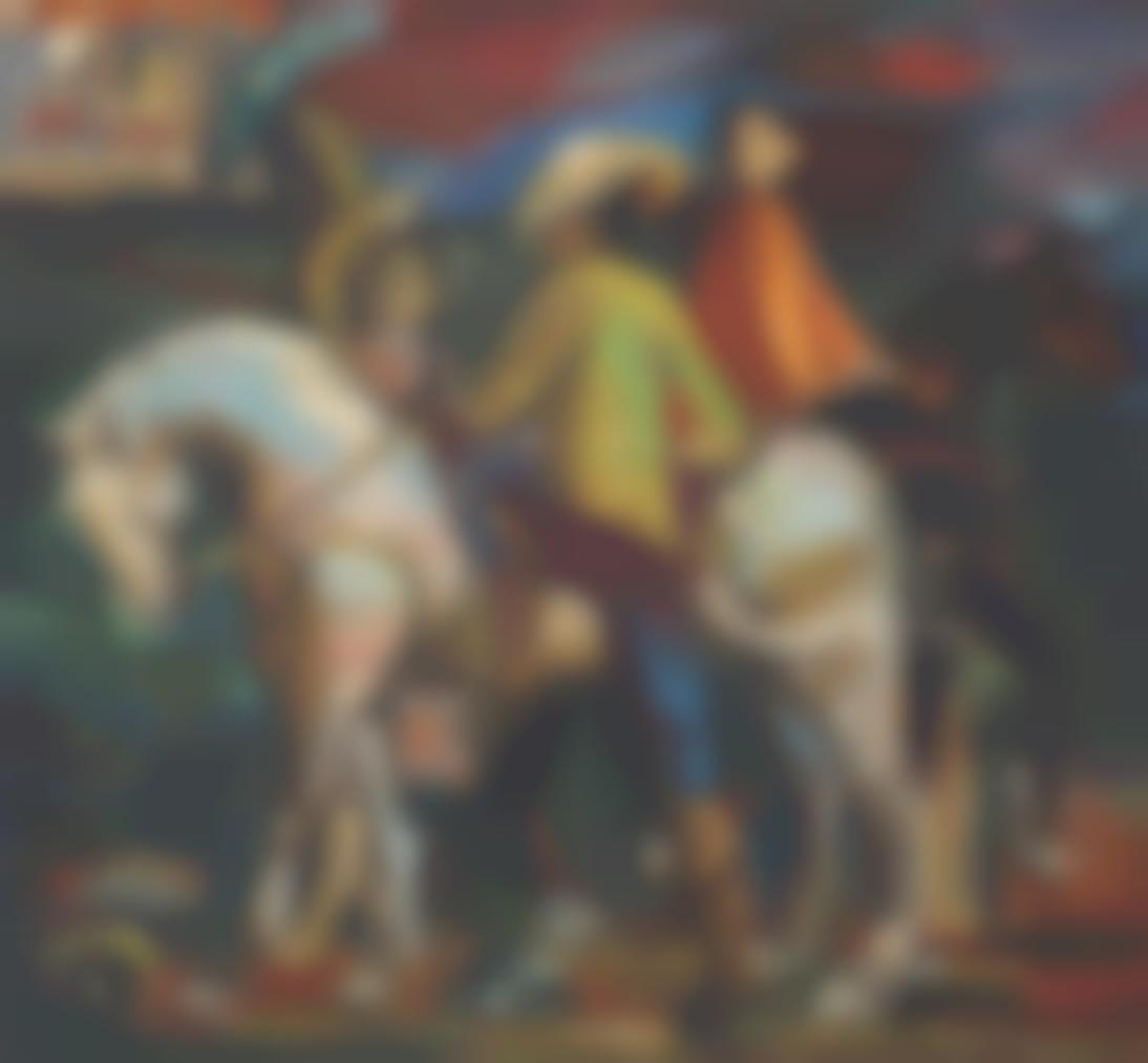 Mariano Rodriguez-Guajiros A Caballo Y Mujer Con Sombrilla-1944