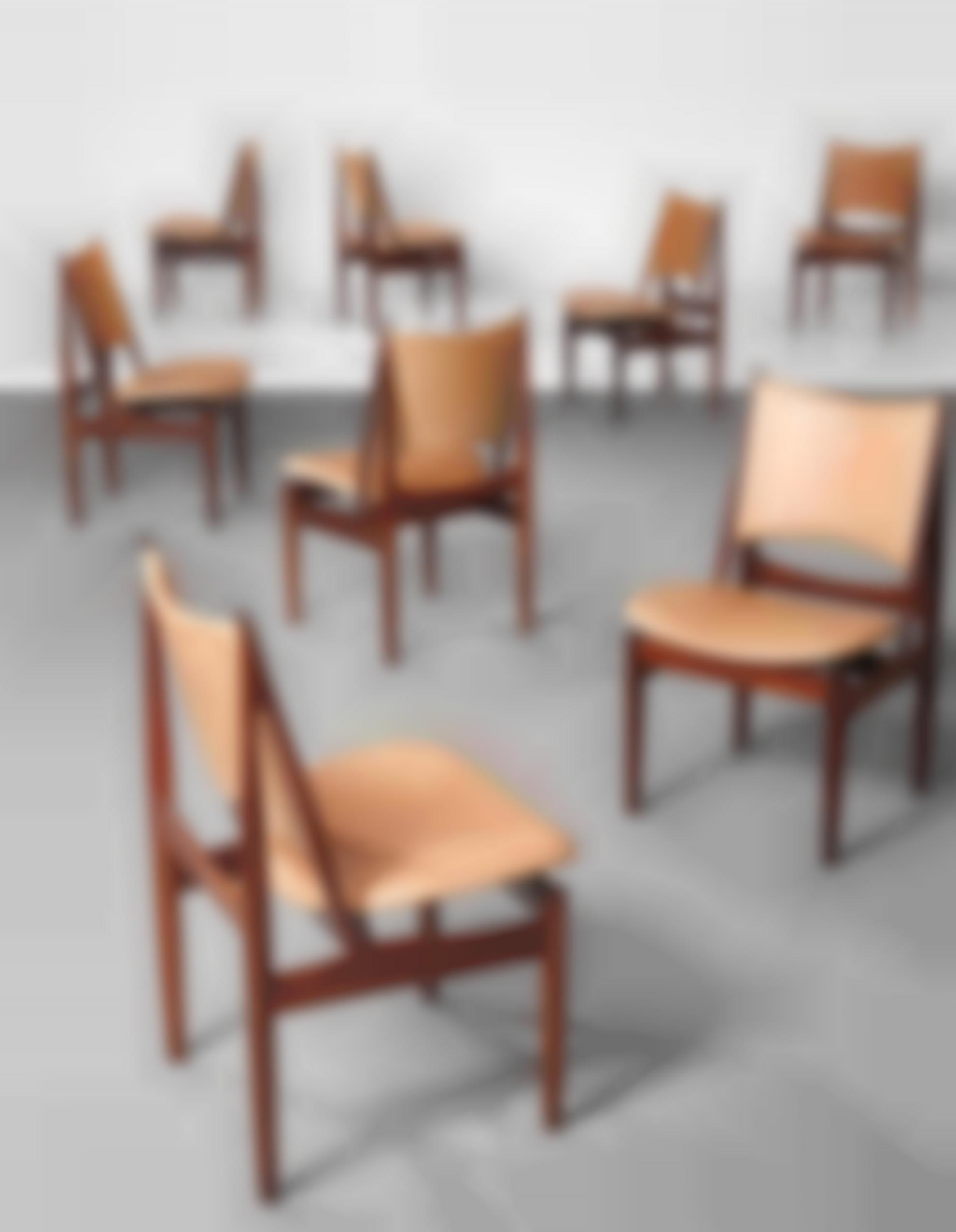 Finn Juhl-Rare Set Of Eight 'Egyptian' Dining Chairs, Model No. Fj 49-1949