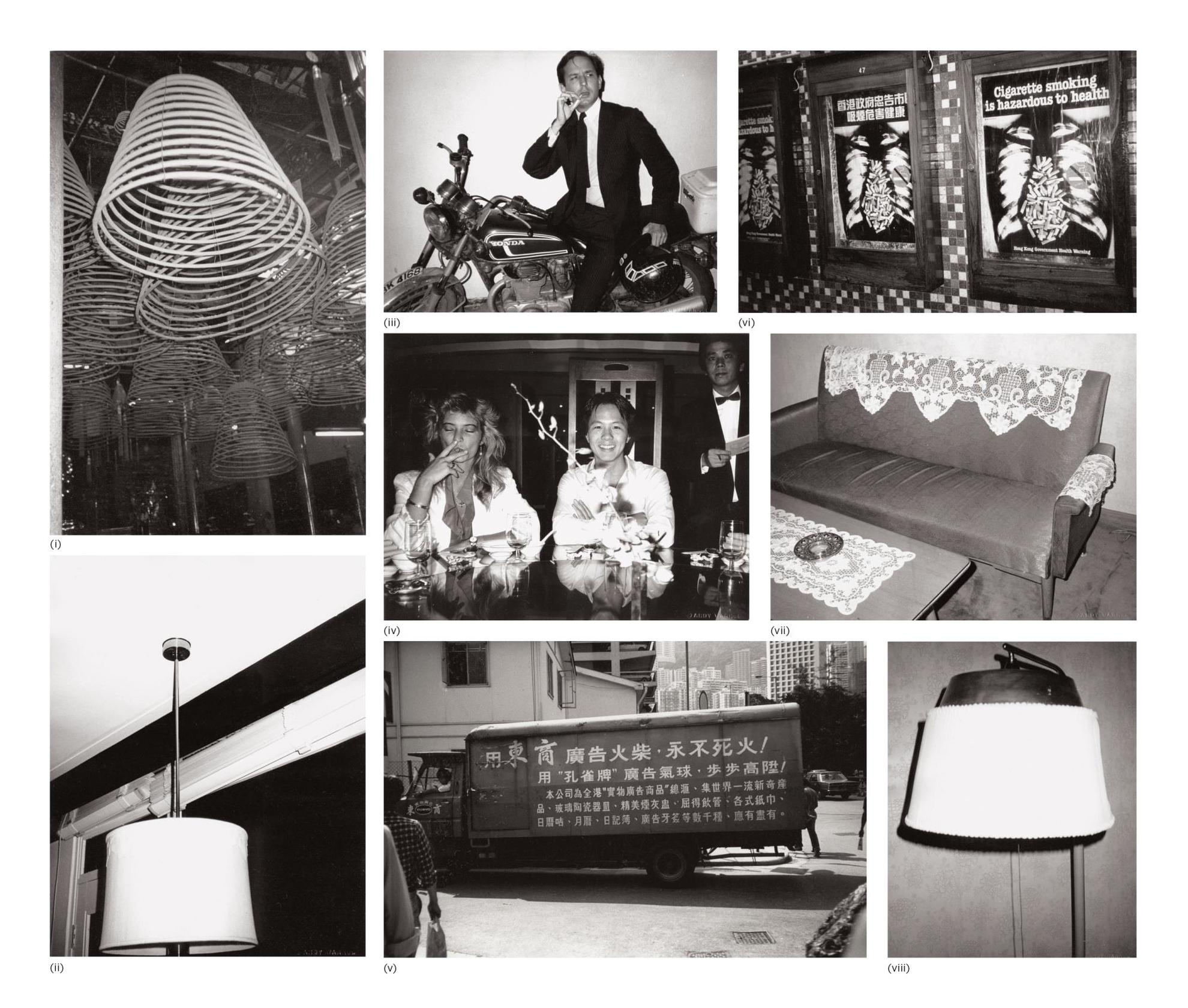 Andy Warhol-Eight Works: (I) Coiled Incense; (II) Ceiling Lamp; (III) Fred Hughes; (IV) Natasha Grenfell And Alfred Siu; (V) Hong Kong Street (Truck); (VI) Sign: Cigarette Smoking Is Hazardous To Health; (VII) Sofa And Table; (VIII) Lamp-1982