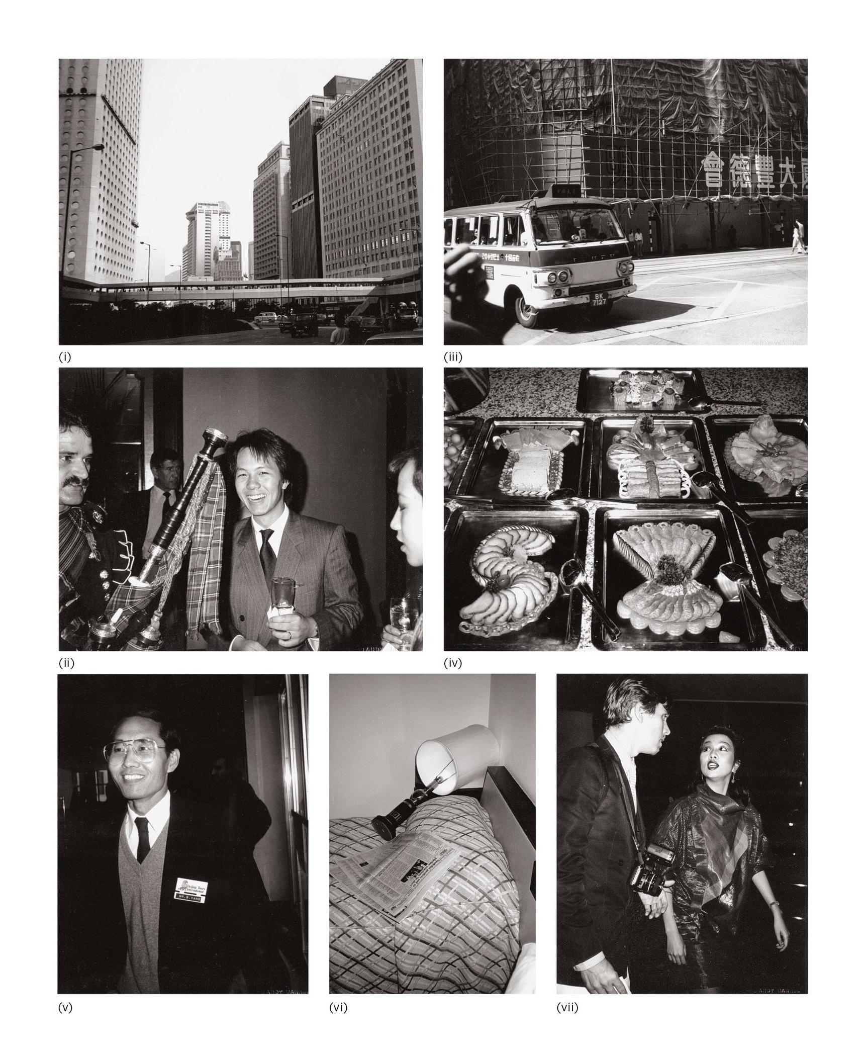 Andy Warhol-Seven Works: (I) Hong Kong; (II) Alfred Siu And Partygoers; (III) Hong Kong Street (Van); (IV) Buffet; (V) Tour Guide; (VI) Hotel Room; (VII) Christopher Makos And Unidentified Woman-1982