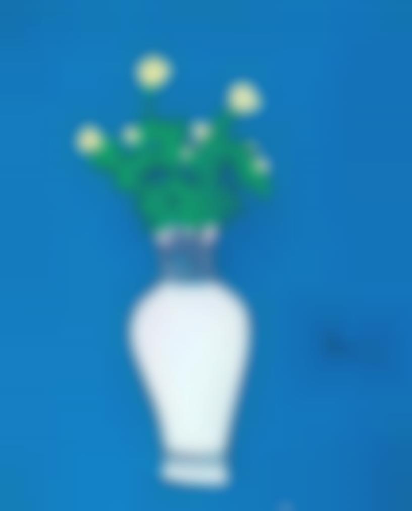 Zheng Zaidong-Vase On Blue Ground-