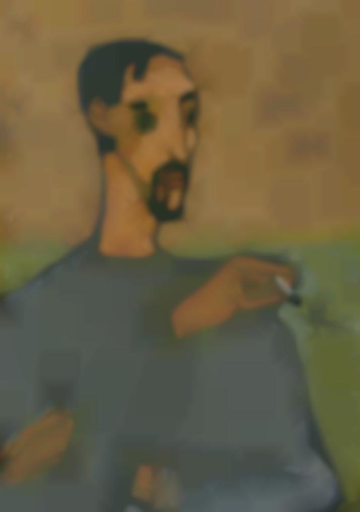 Dang Xuan Hoa-Self-Portrait With Cigarette-2003