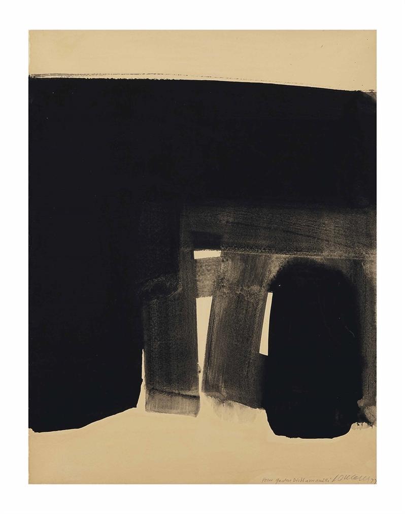 Pierre Soulages-Gouache Sur Papier 76X57.5 Cm, 1977-1977