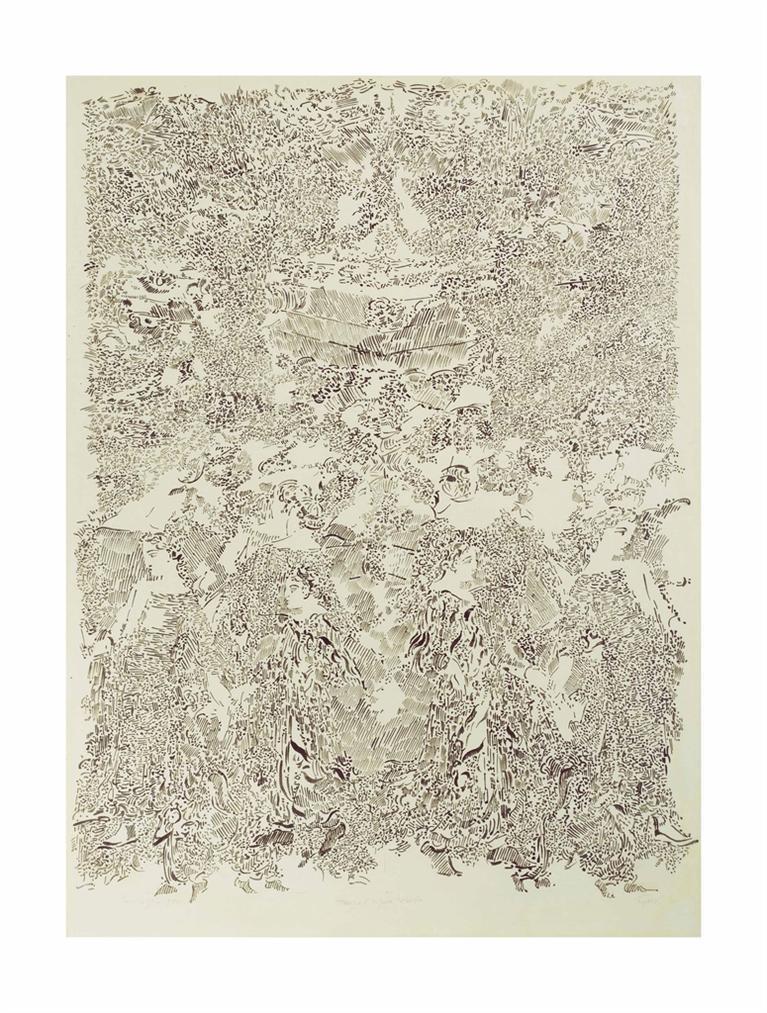 Francois Rouan-Lunghezza - Tressage, Figures, Marbre-1976