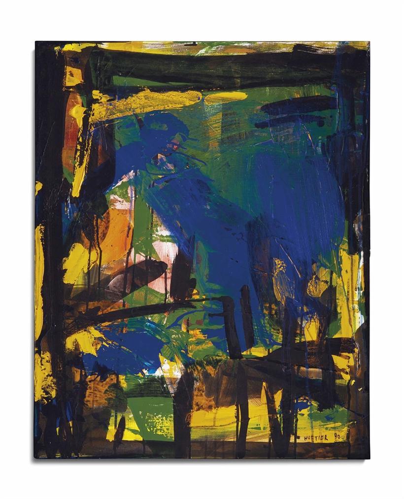 Jean-Paul Huftier-Solognot Noir Et Bleu-1990