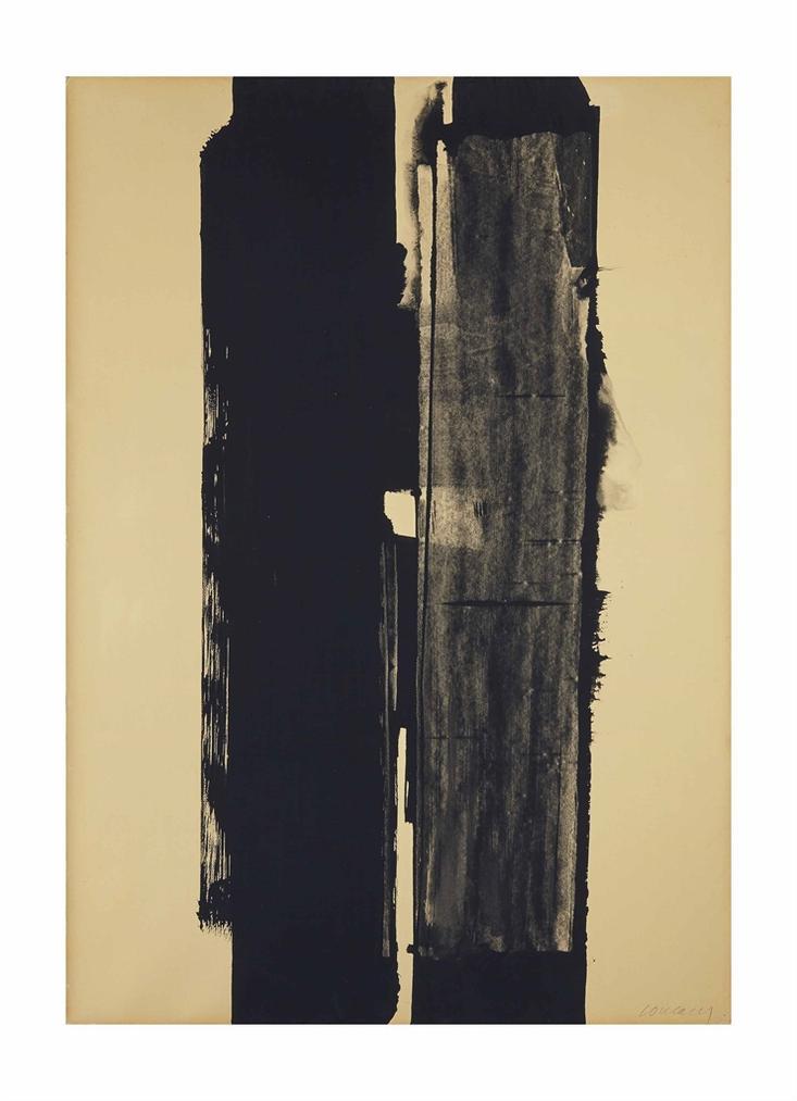 Pierre Soulages-Gouache Sur Papier 108X76 Cm., 1973-1973