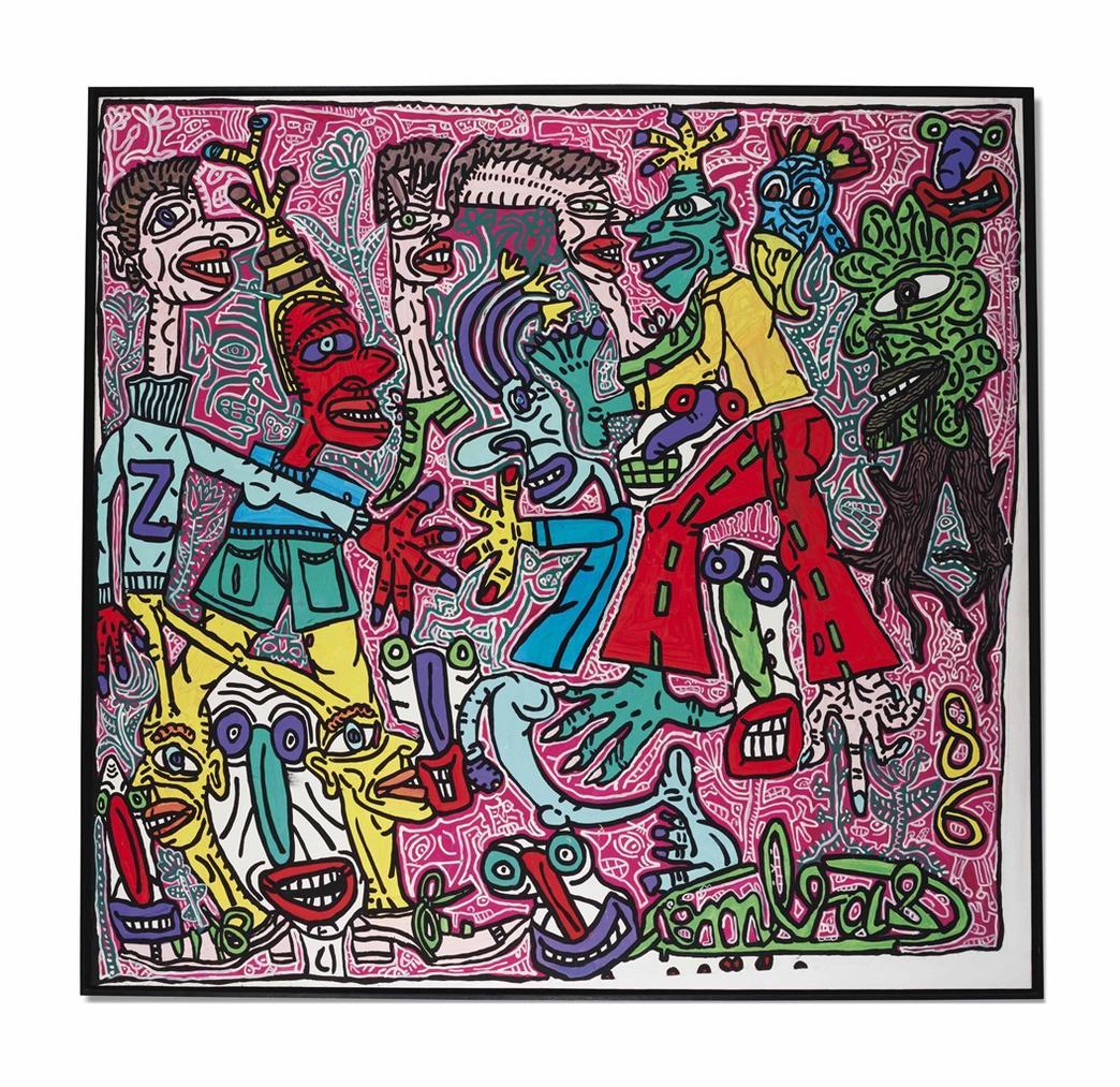 Robert Combas-Tout Le Monde Est Content Ou Feint De Letre-1986