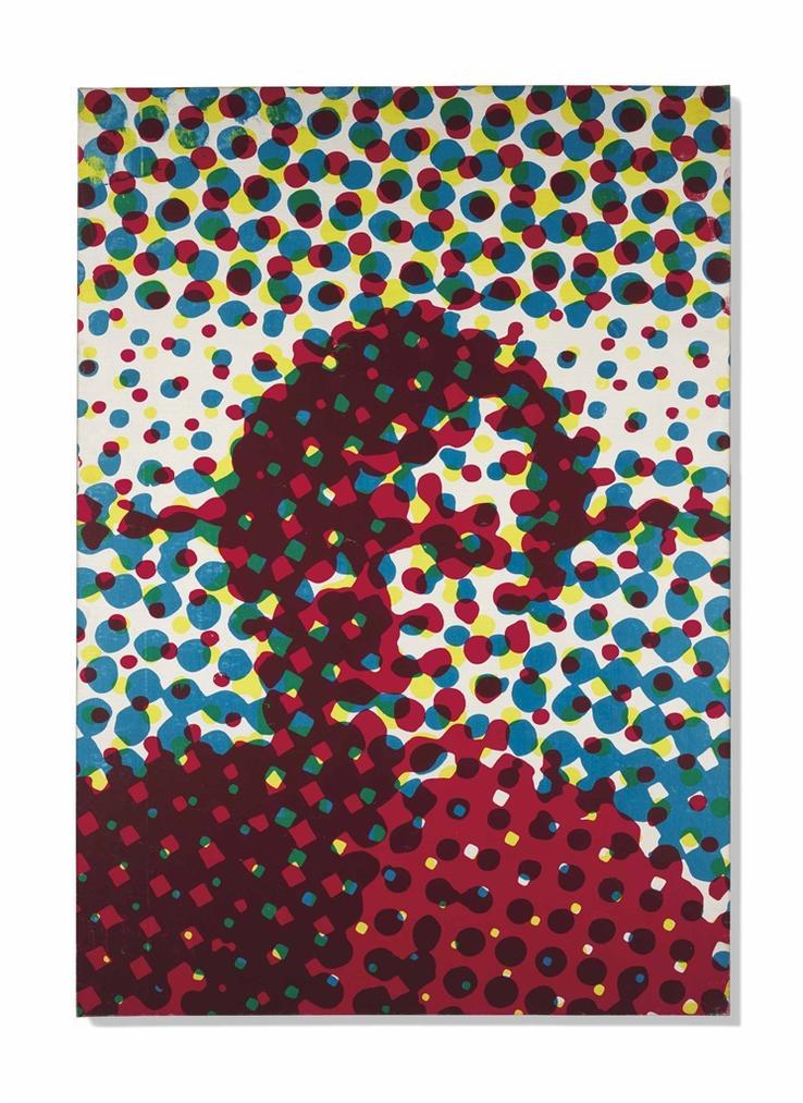 Alain Jacquet-Portrait Dhomme Bleu, Rouge, Jaune-1964