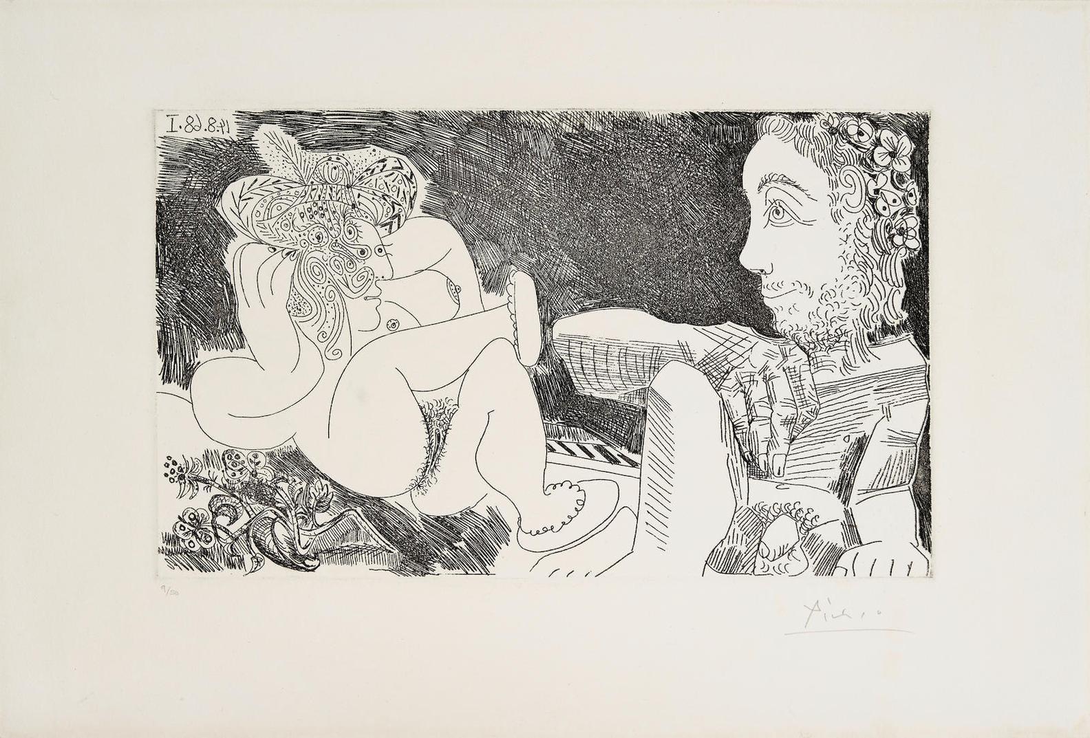 Pablo Picasso-Odalisque En Pantoufles, Et Spectateur Ingresque, From Series 347 (B.1756; Ba. 1774)-1968