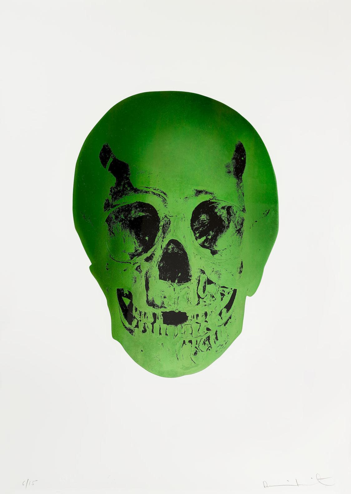 Damien Hirst-The Sick Dead (Lime Green/Raven Black)-2014