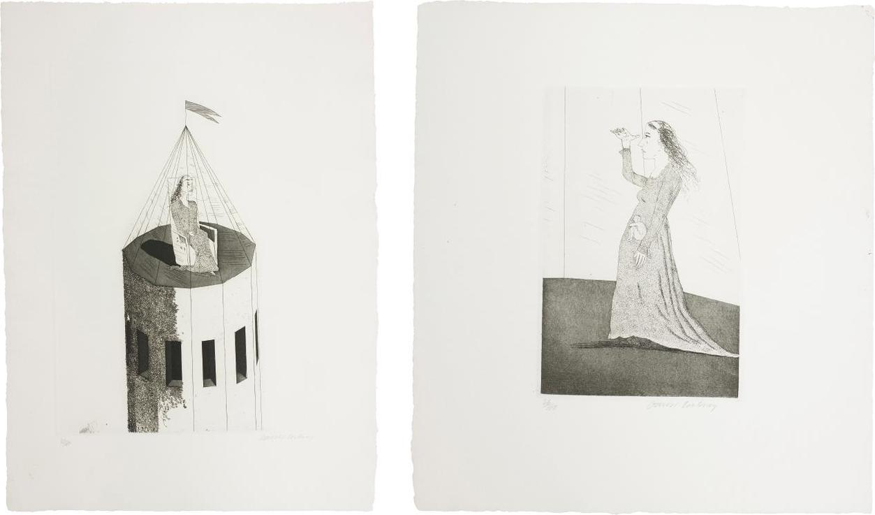 David Hockney-The Princess In Her Tower; And The Princess Searching, Plates 2 And 5 From Illustrations For Six Fairy Tales From The Brothers Grimm-1969