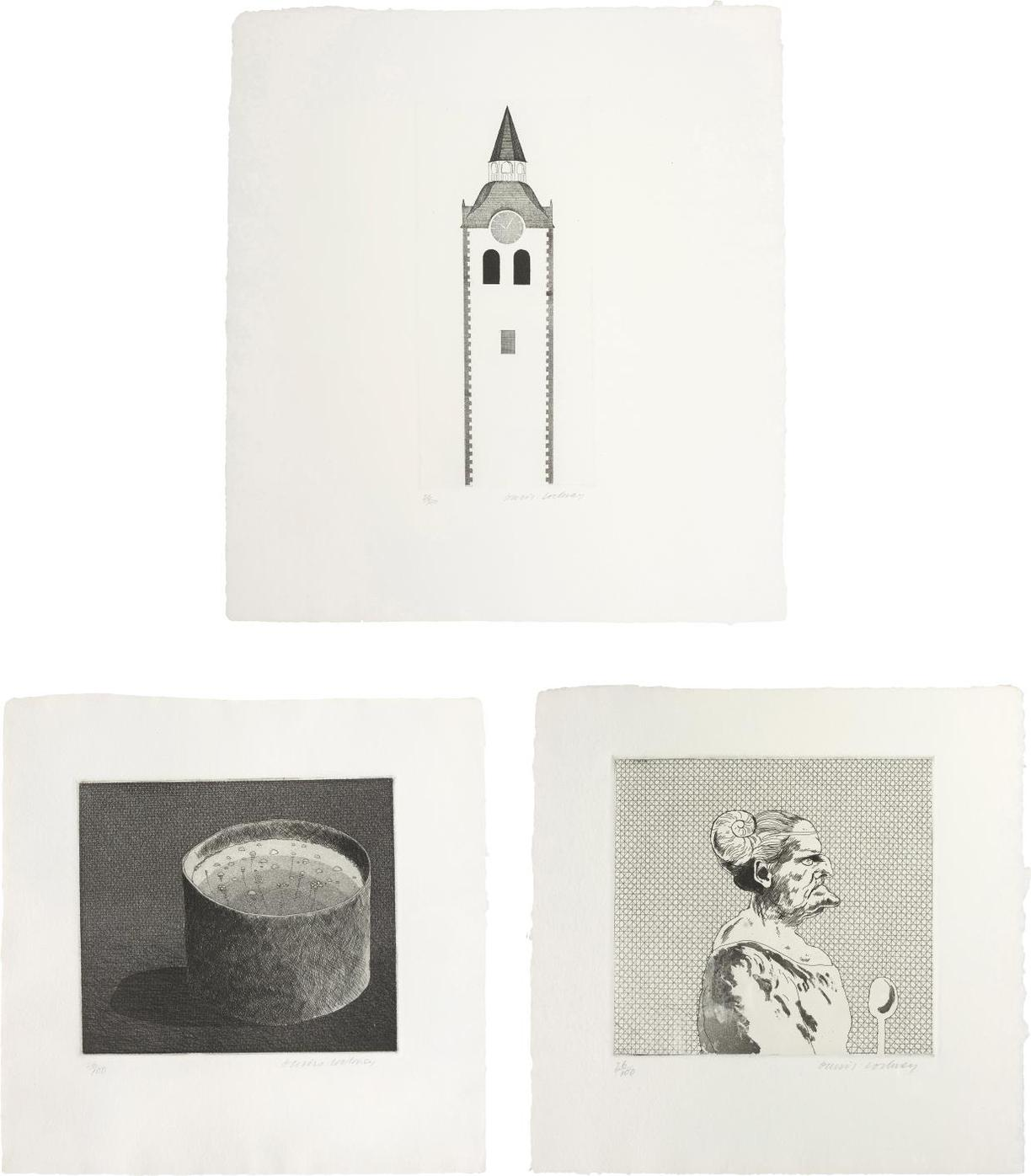 David Hockney-The Church Tower And The Clock, The Pot Boiling; And The Cook; Plates 10, 8 And 7 From Illustrations For Six Fairy Tales From The Brothers Grimm-1969