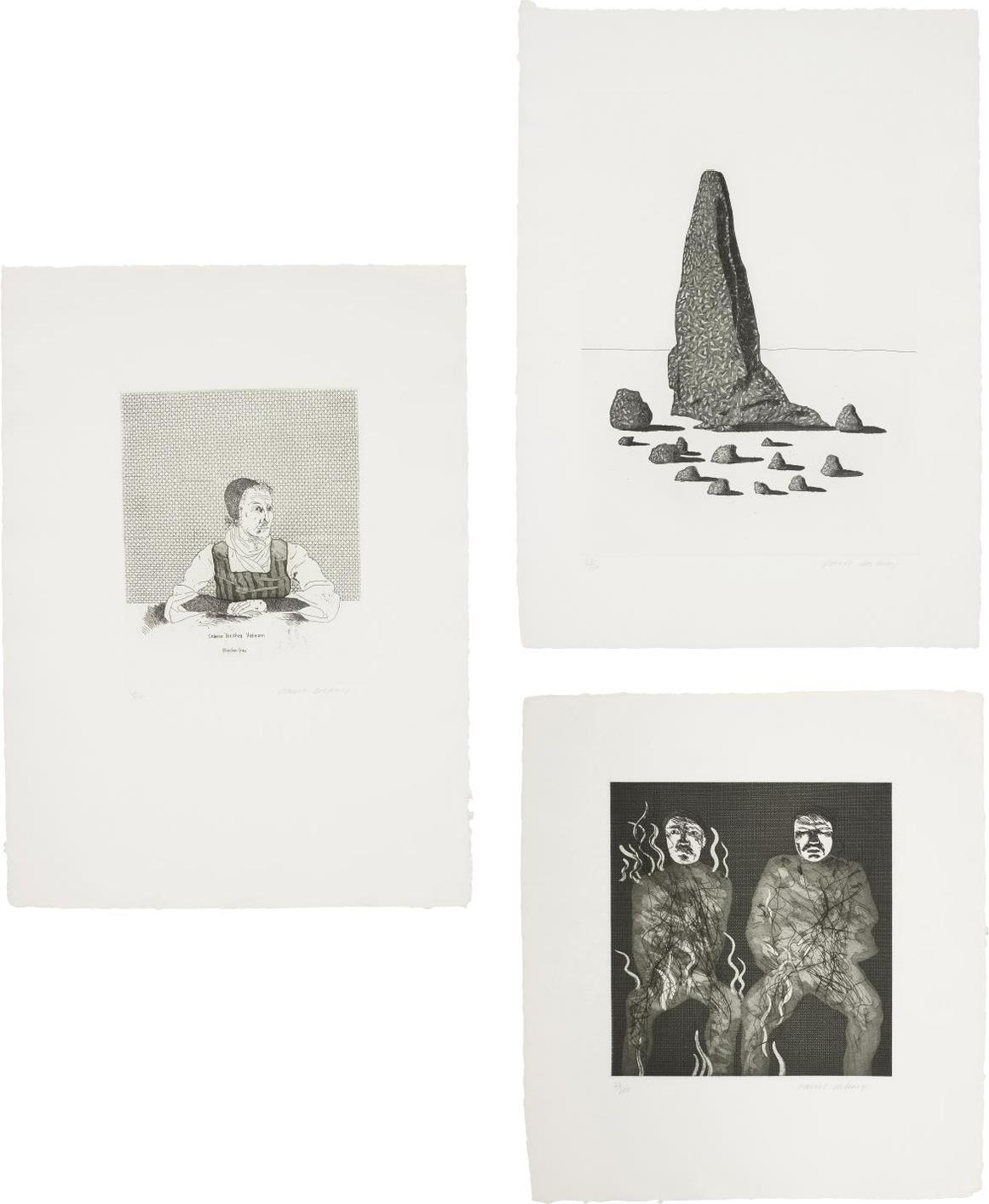 David Hockney-Catharina Dorothea Viehman; The Sexton Disguised As A Ghost Stood Still As Stone; And Corpses On Fire, Plates 1, 21 And 22 From Illustrations For Six Fairy Tales From The Brothers Grimm-1969