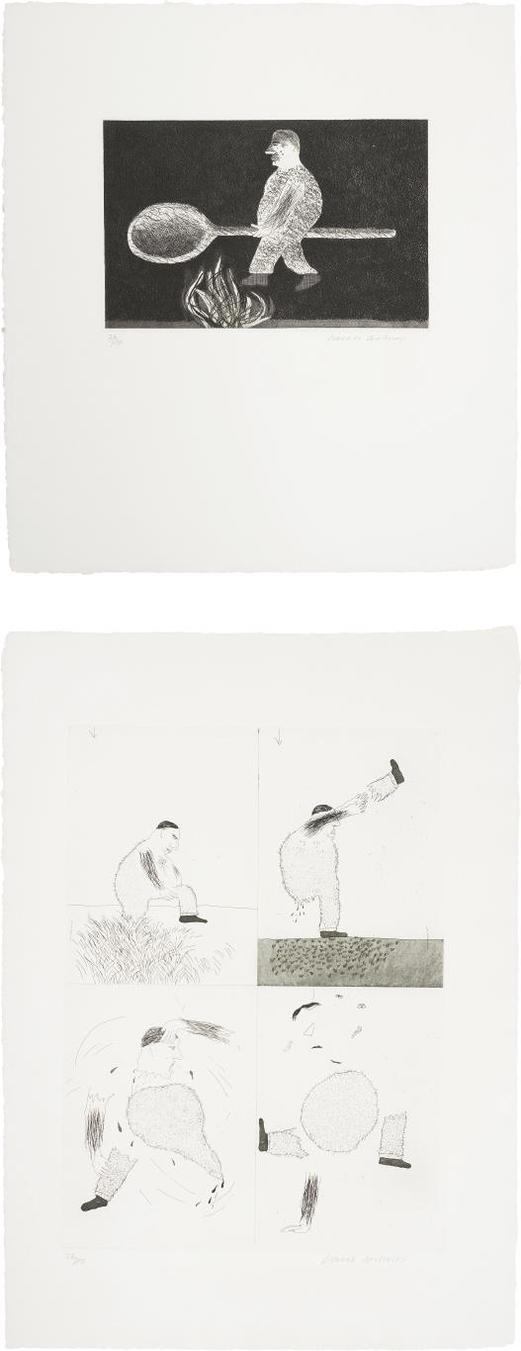 David Hockney-Riding Around On A Cooking Spoon; And He Tore Himself In Two, Plates 38 And 39 From Illustrations For Six Fairy Tales From The Brothers Grimm-1969