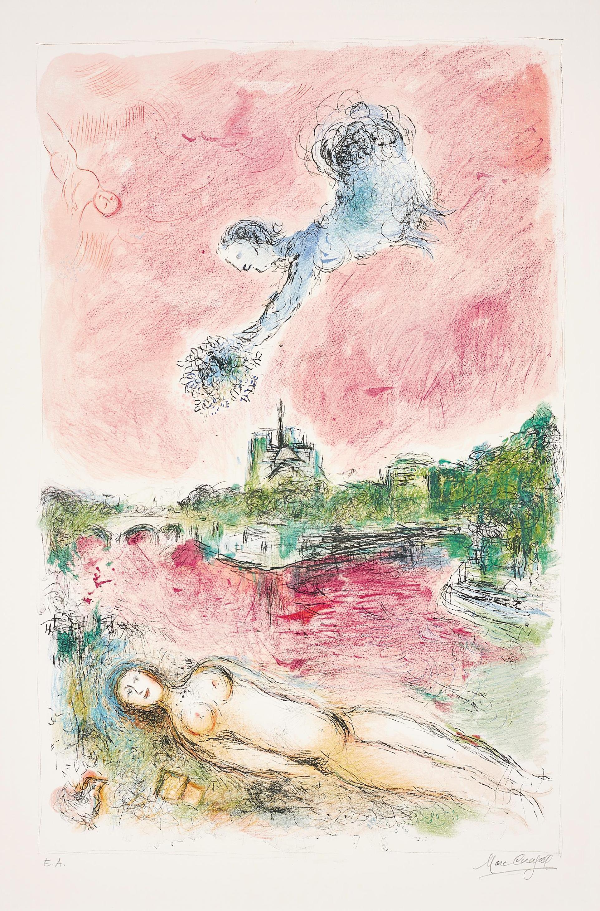 Marc Chagall-Vue De Notre-Dame (View Of Notre-Dame)-1980