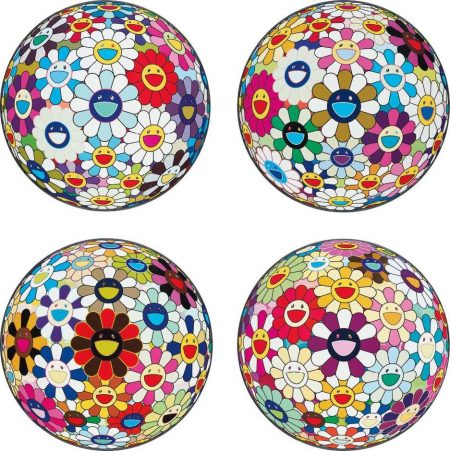 Takashi Murakami-Flower Ball (3-D) Sequoia Semperivens; Flower Ball (3-D) Autumn 2004; Flower Ball (Lots Of Colors); And Flowerball Sexual Violet No.1 (3D)-2013