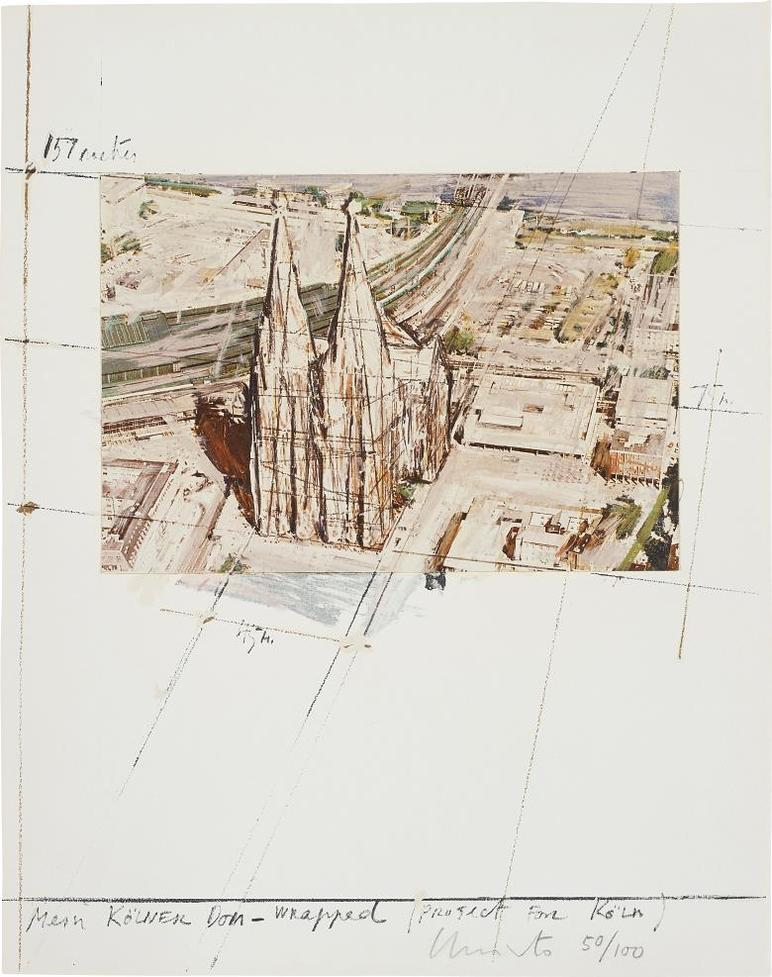 Christo And Jeanne-Claude - Mein Kolner Dom, Wrapped, Project For Koln, From Five Urban Projects-1985