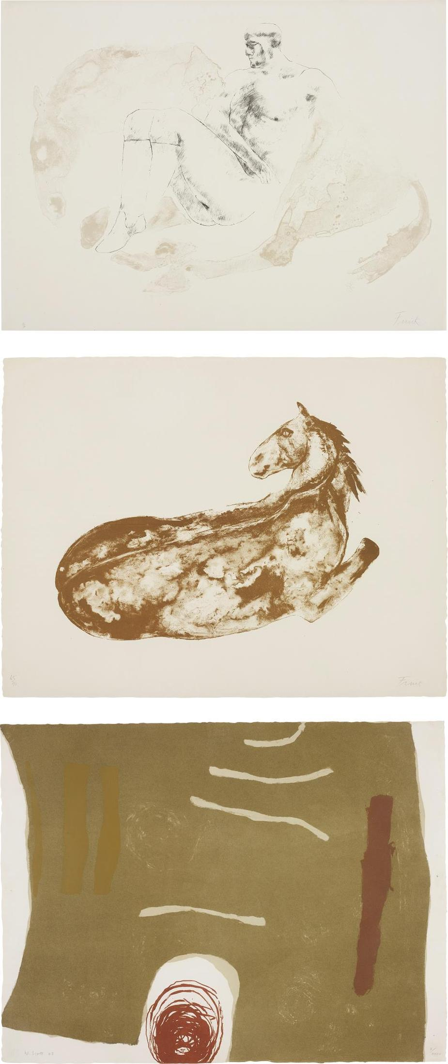 Elisabeth Frink; And William Scott - Man And Horse Ii; Reclining Horse; And Scalpay-1976