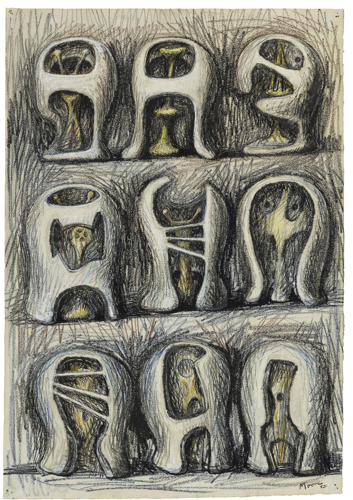 Henry Moore-Nine Helmet Heads-1950