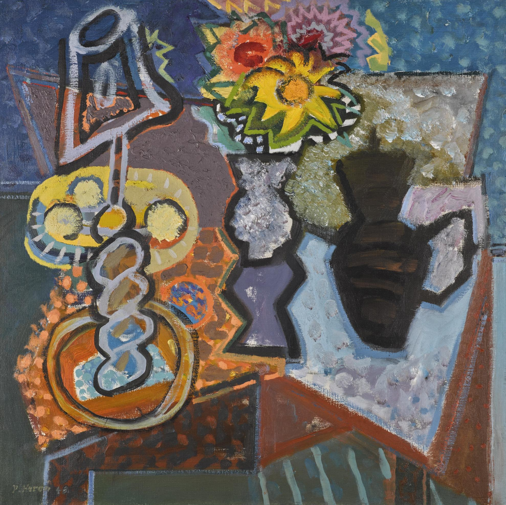 Patrick Heron-Still-Life: Lamp, Dahlias And Sunflower: 1948-1948