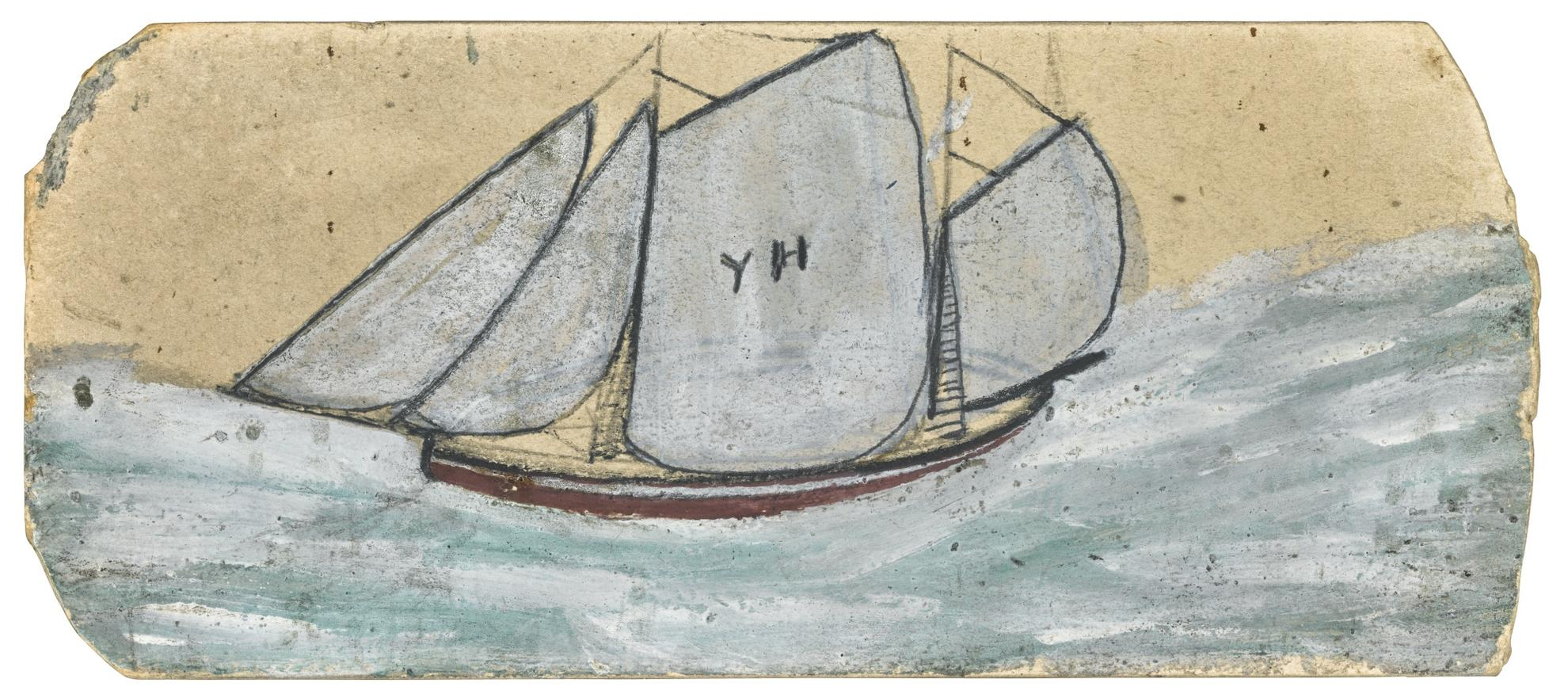 Alfred Wallis-A Schooner Under Full Sail-
