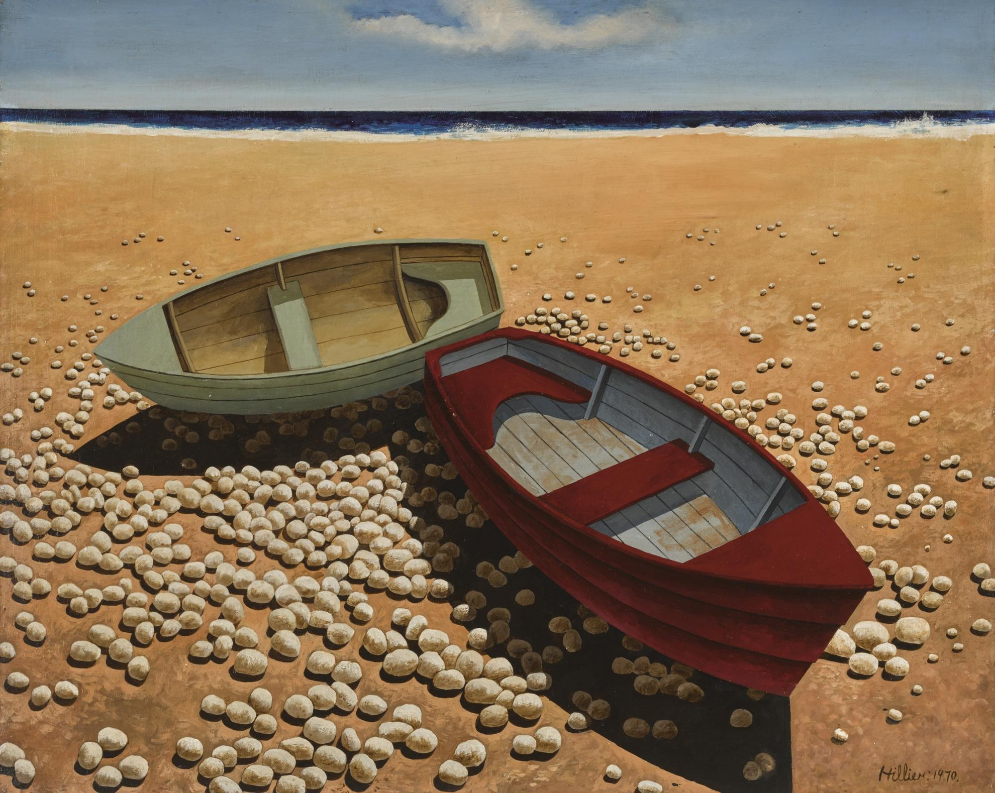 Tristram Hillier-Boats On A Pebbled Beach-1970
