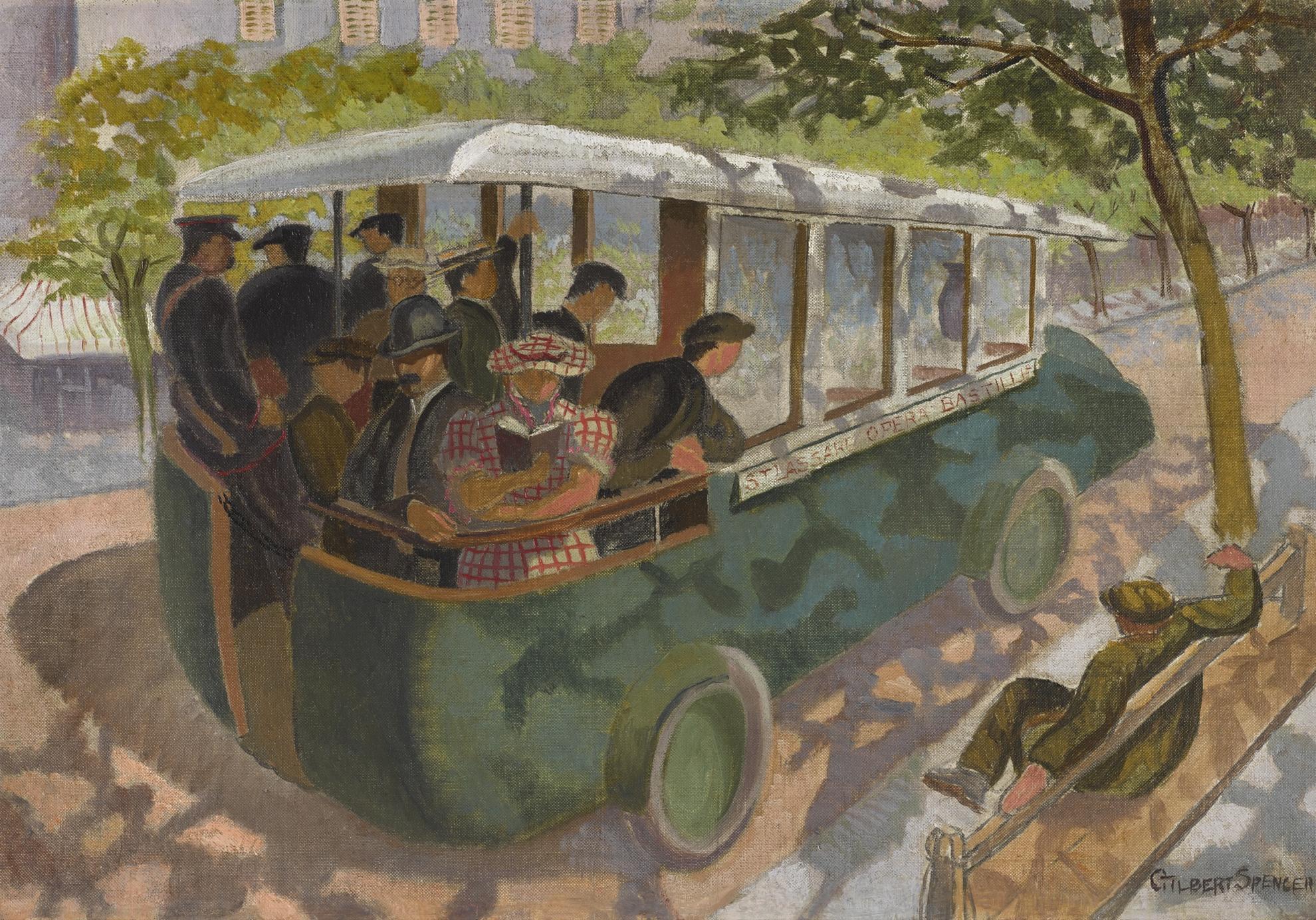 Gilbert Spencer-Paris Bus-1932