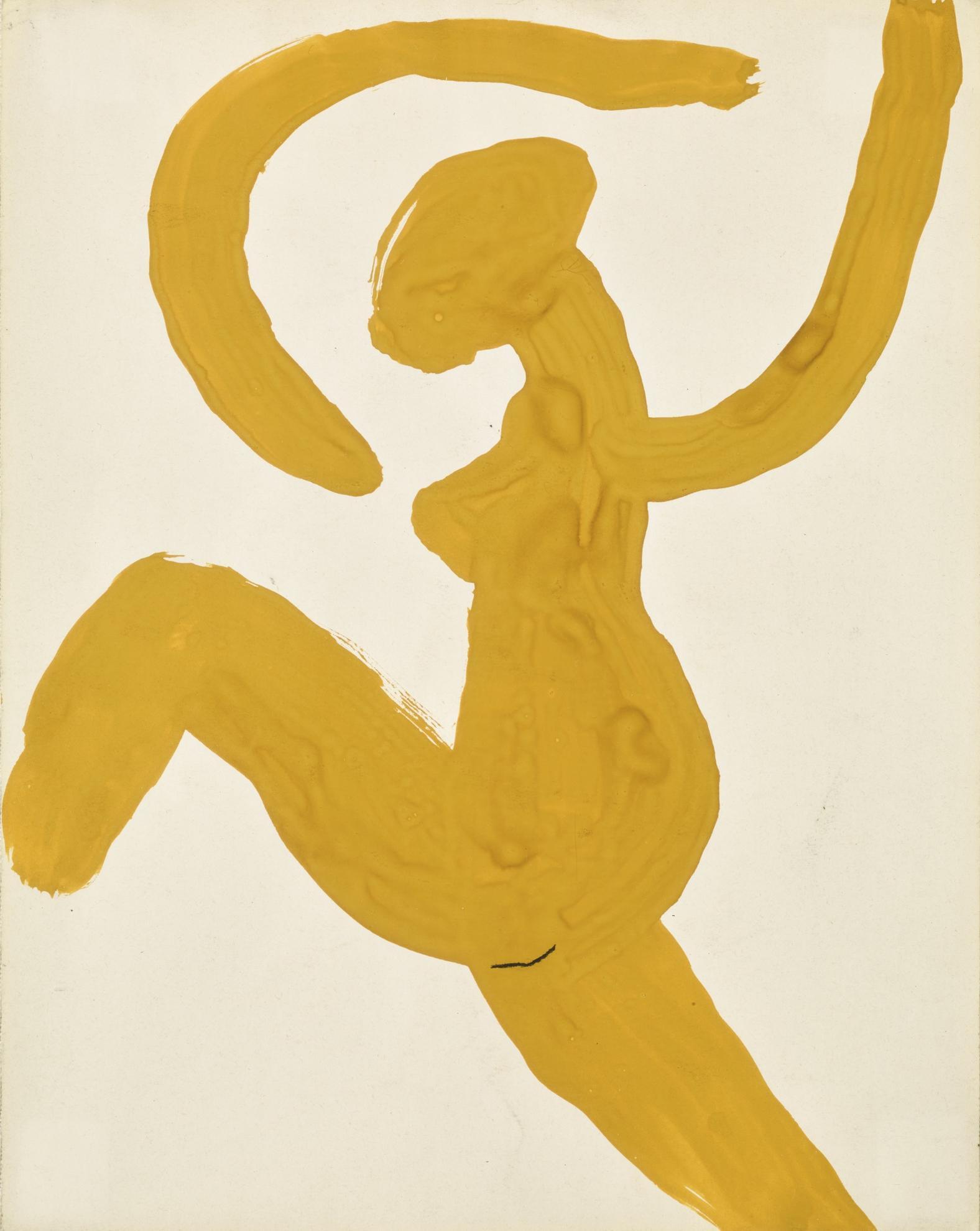 Roger Hilton-Gouache: Nude Cricket Bowler-