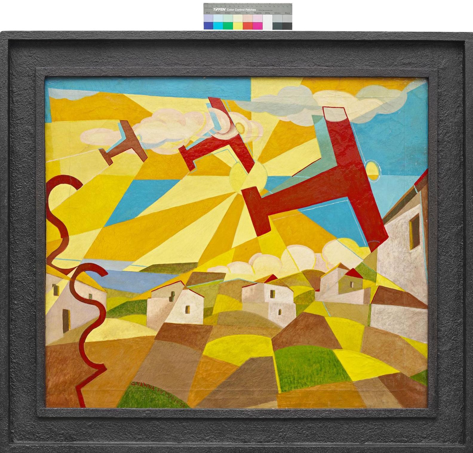 Giulio D'Anna-Aerei Caproni In Volo Su Paesi Dei Monti Peloritani-1929