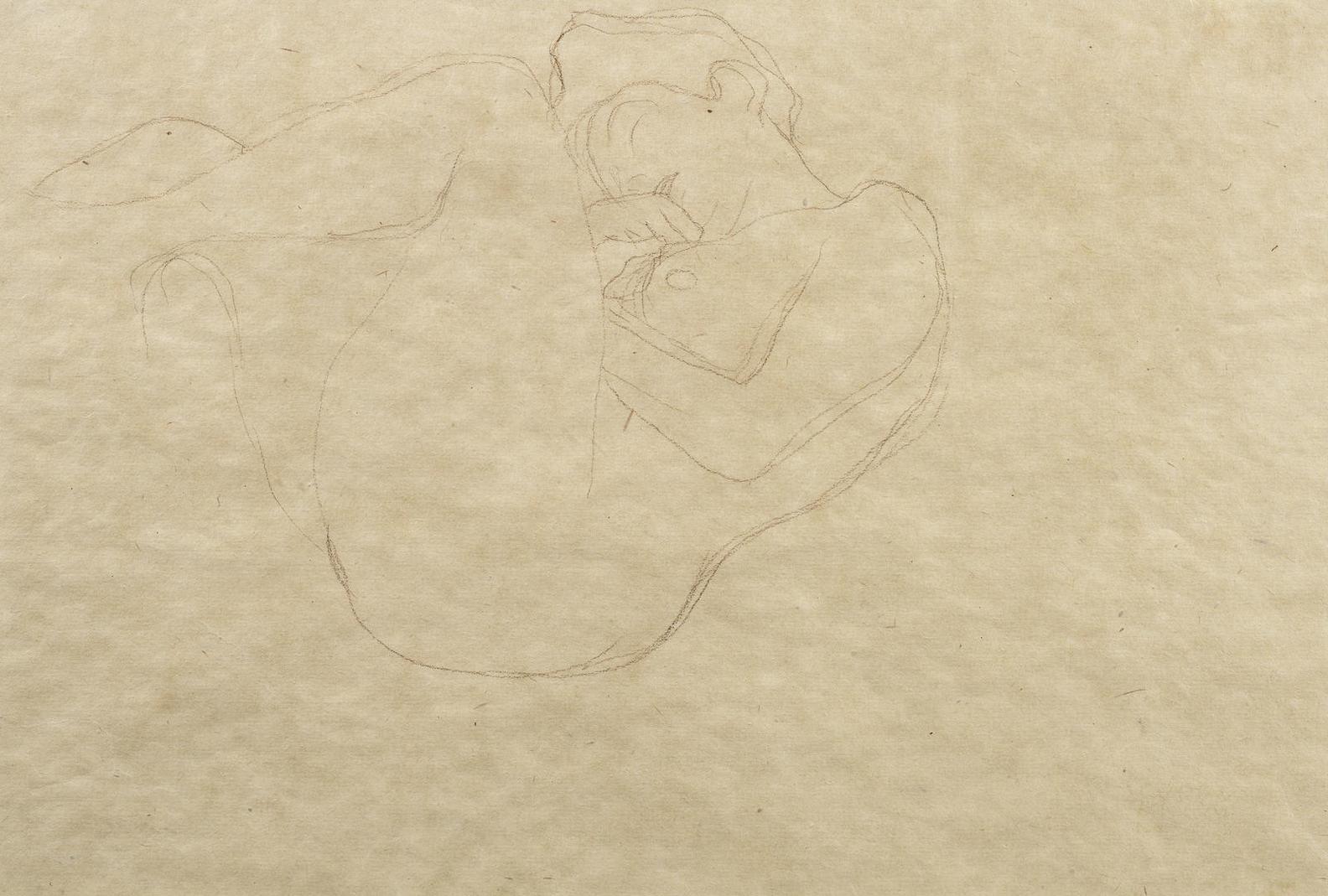 Gustav Klimt-Zuruckgelehnt Liegender Frauenakt Nach Links-1903