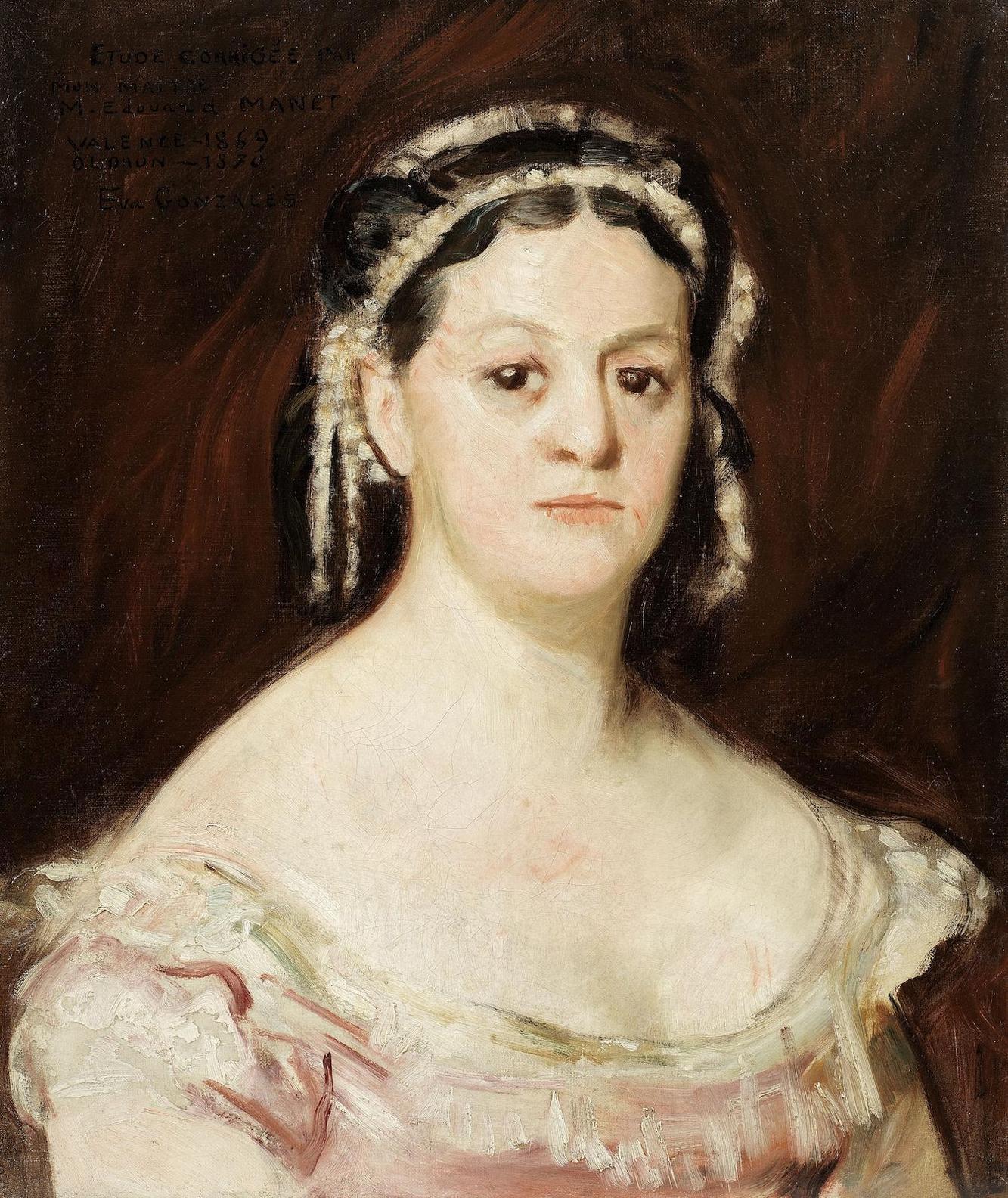 Eva Gonzales-Portrait De Femme, Etude, Par Eva Gonzales Et Edouard Manet-1869