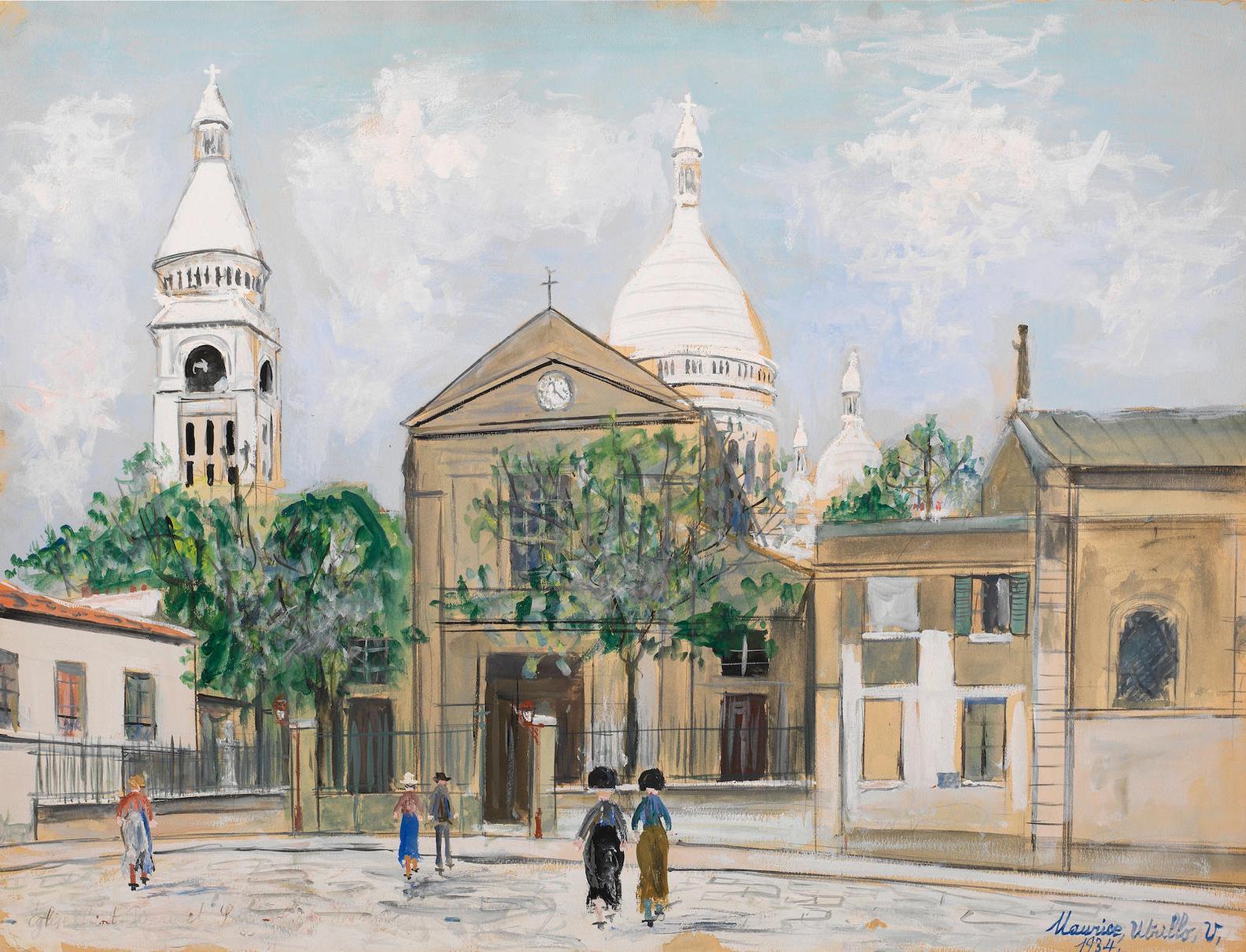 Maurice Utrillo-Leglise Saint-Pierre Et Le Sacre-Coeur De Montmartre-1934