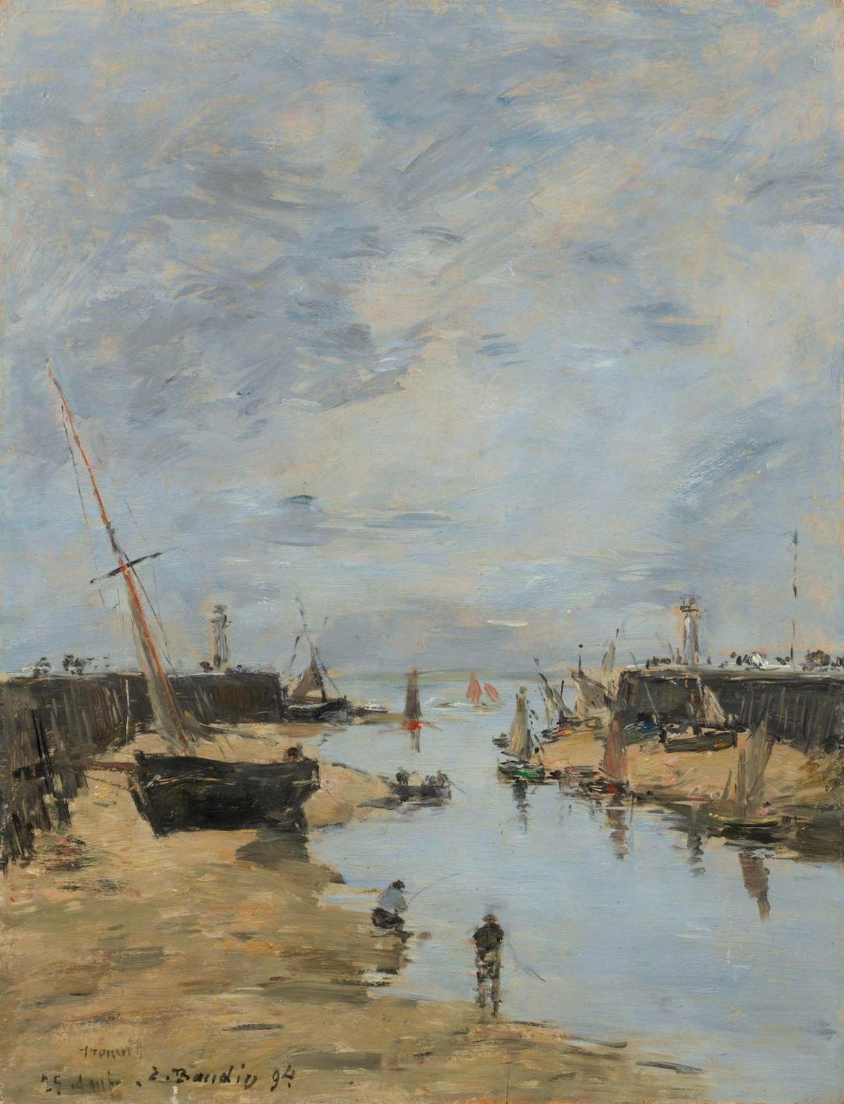 Eugene Louis Boudin-Jetees De Trouville, Maree Basse-1894