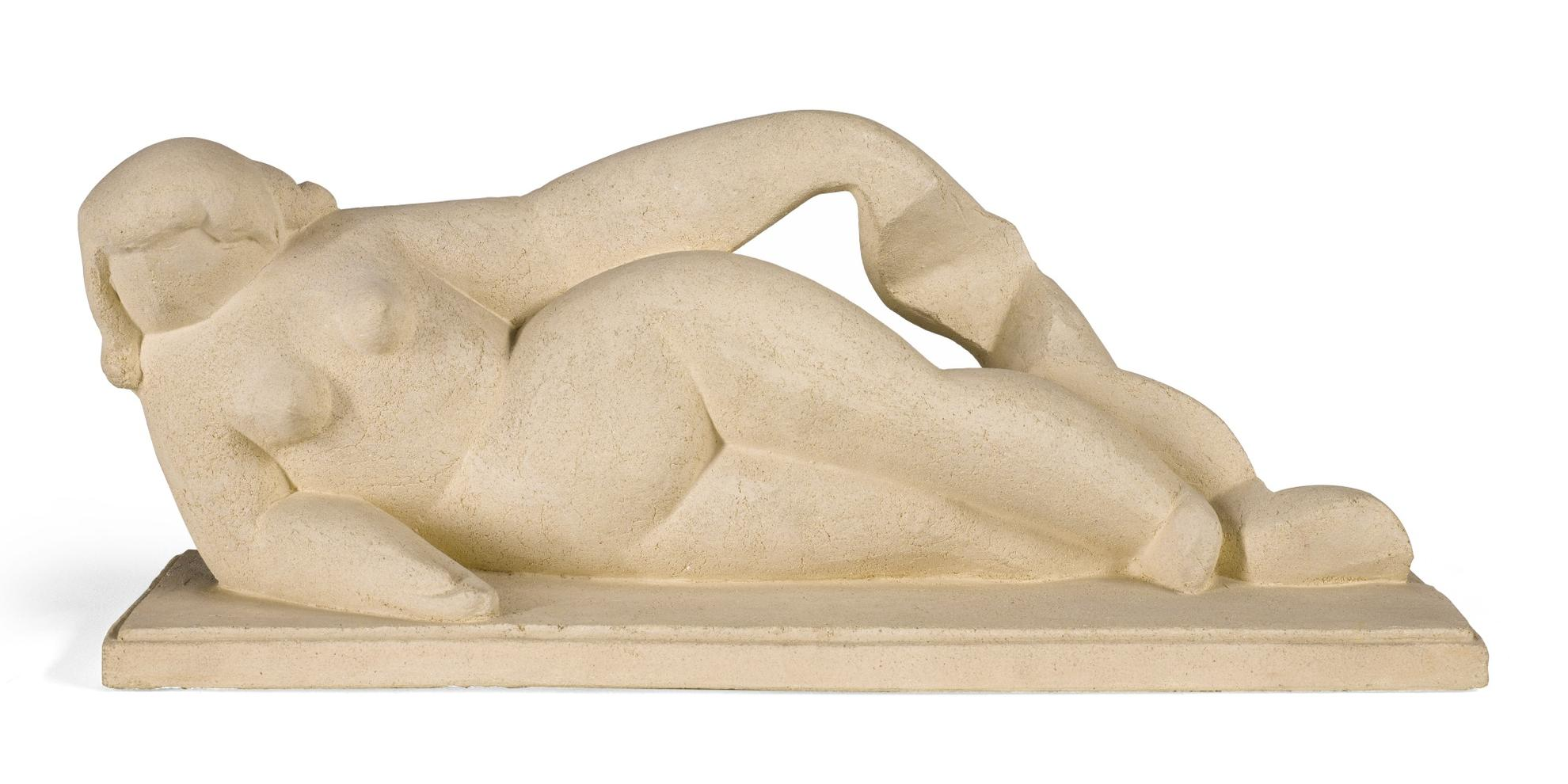 Henri Laurens-Femme Couchee Tenant Une Draperie-1929
