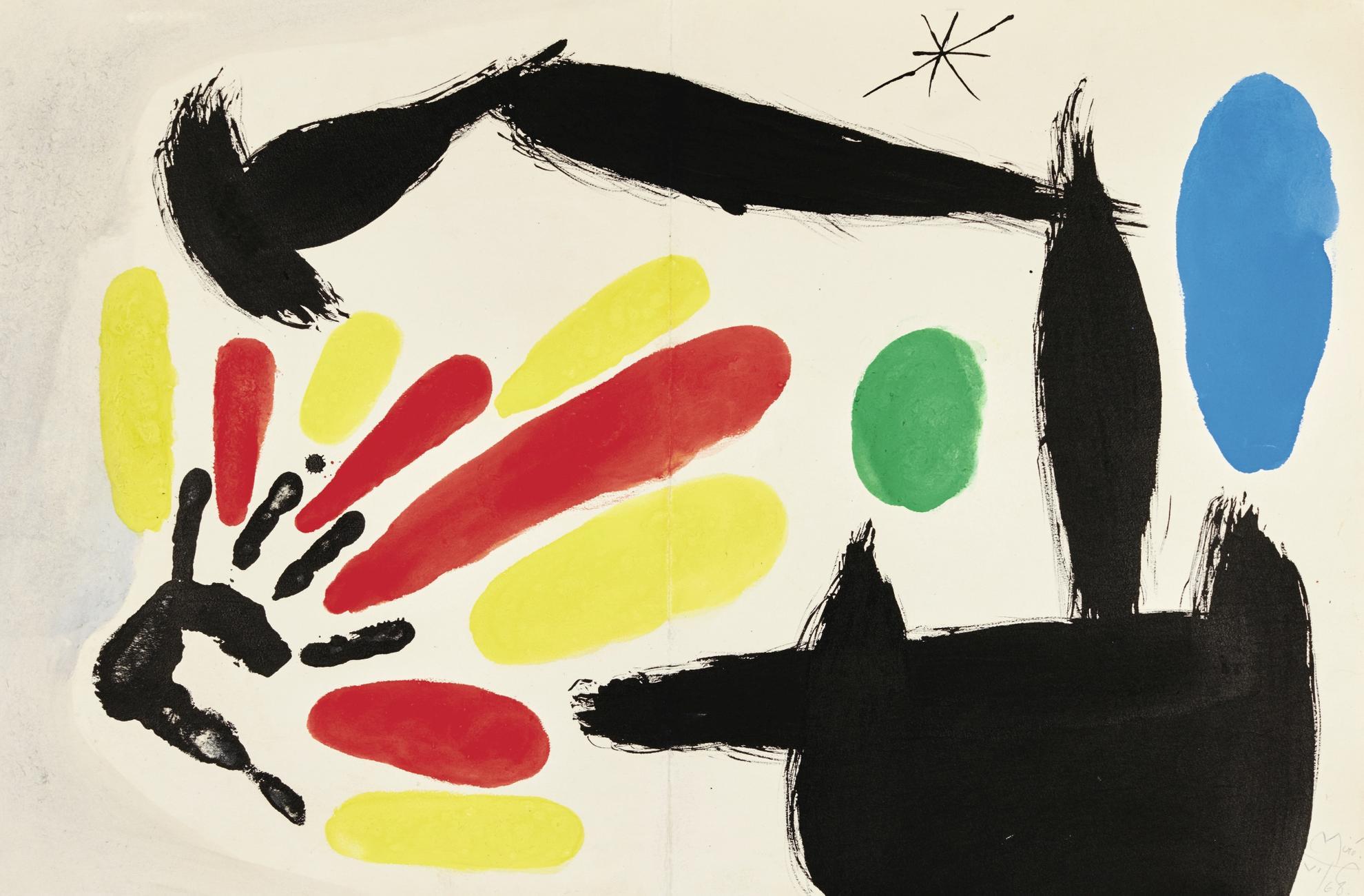 Joan Miro-Nacimiento De La Bandera Catalane (Maquette Originale Pour Une Des Planches Reproduites Dans Le Livre Les Essencies De La Terra)-1968