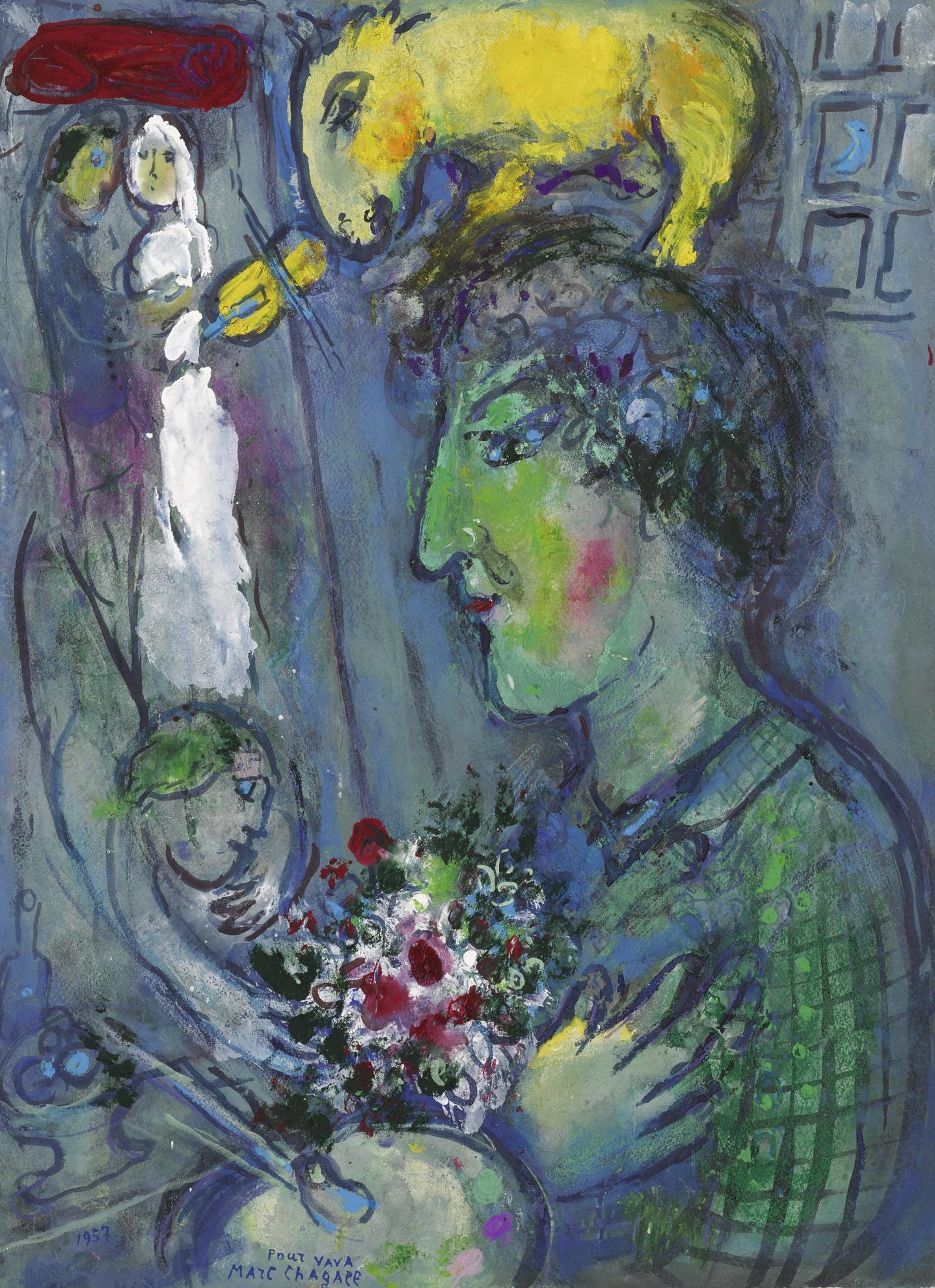 Marc Chagall-Le Profil Vert Du Peintre-1957