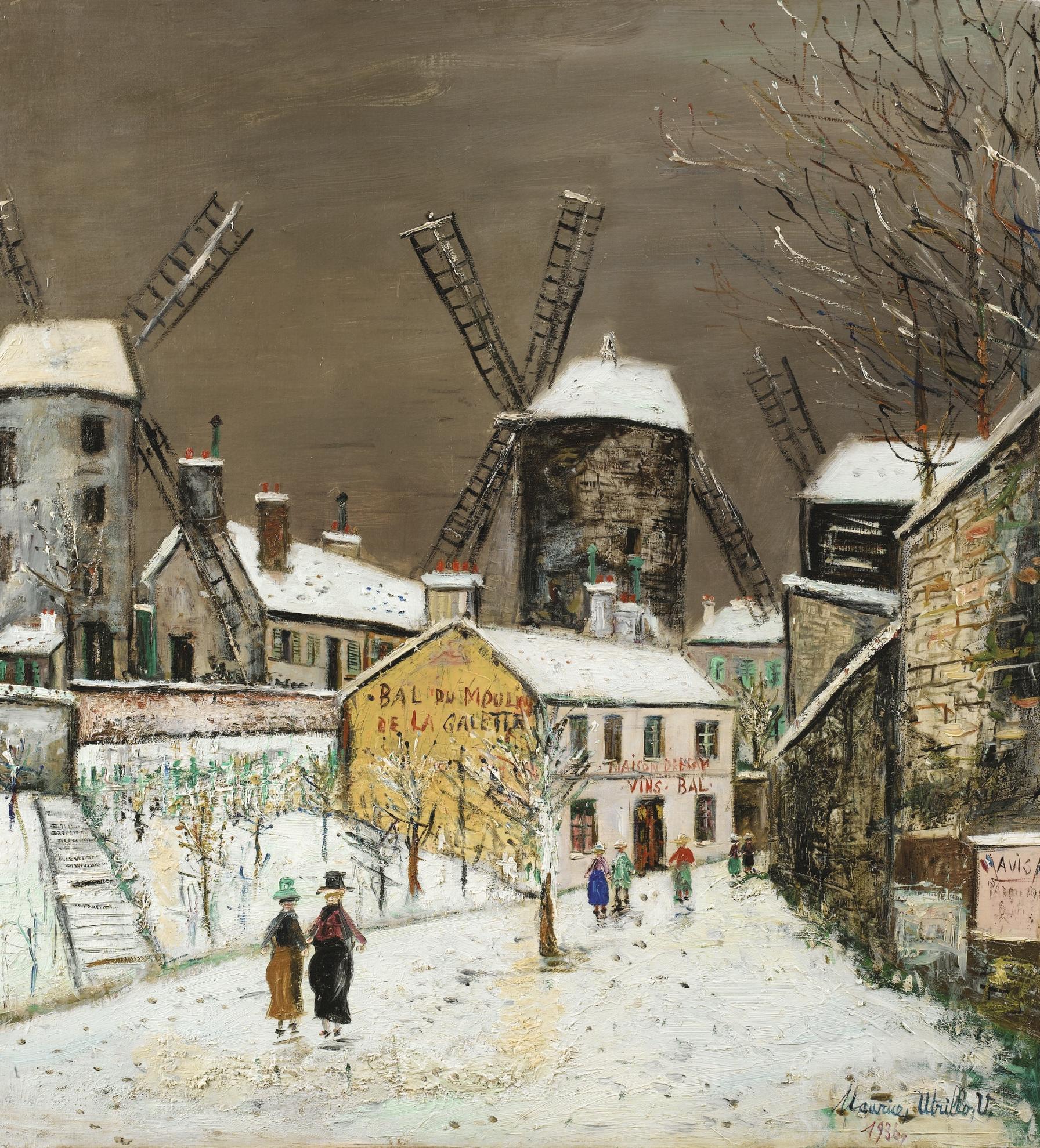 Maurice Utrillo-Les Trois Moulins De Montmartre Sous La Neige-1936