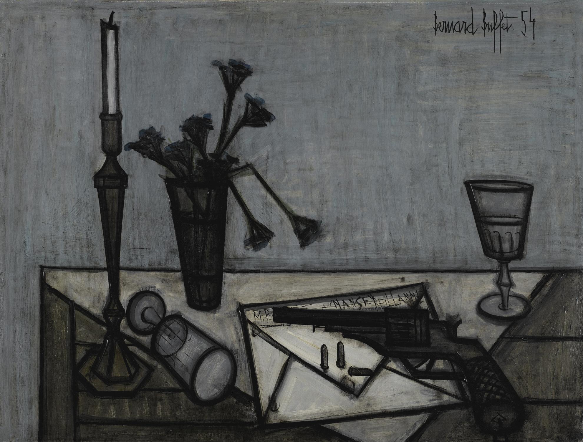 Bernard Buffet-Nature Morte Au Revolver-1954