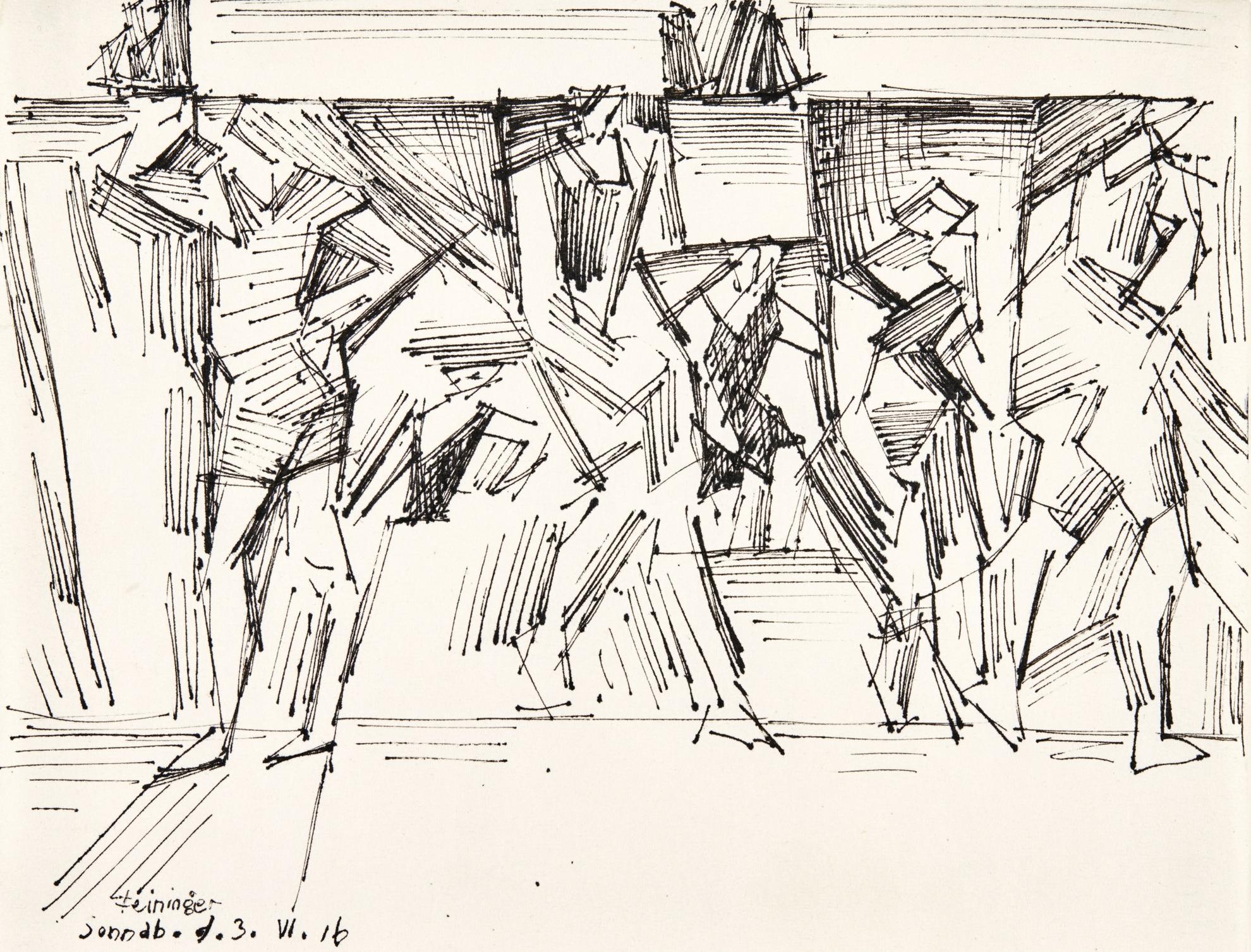 Lyonel Feininger-Untitled (Bathers)-1916